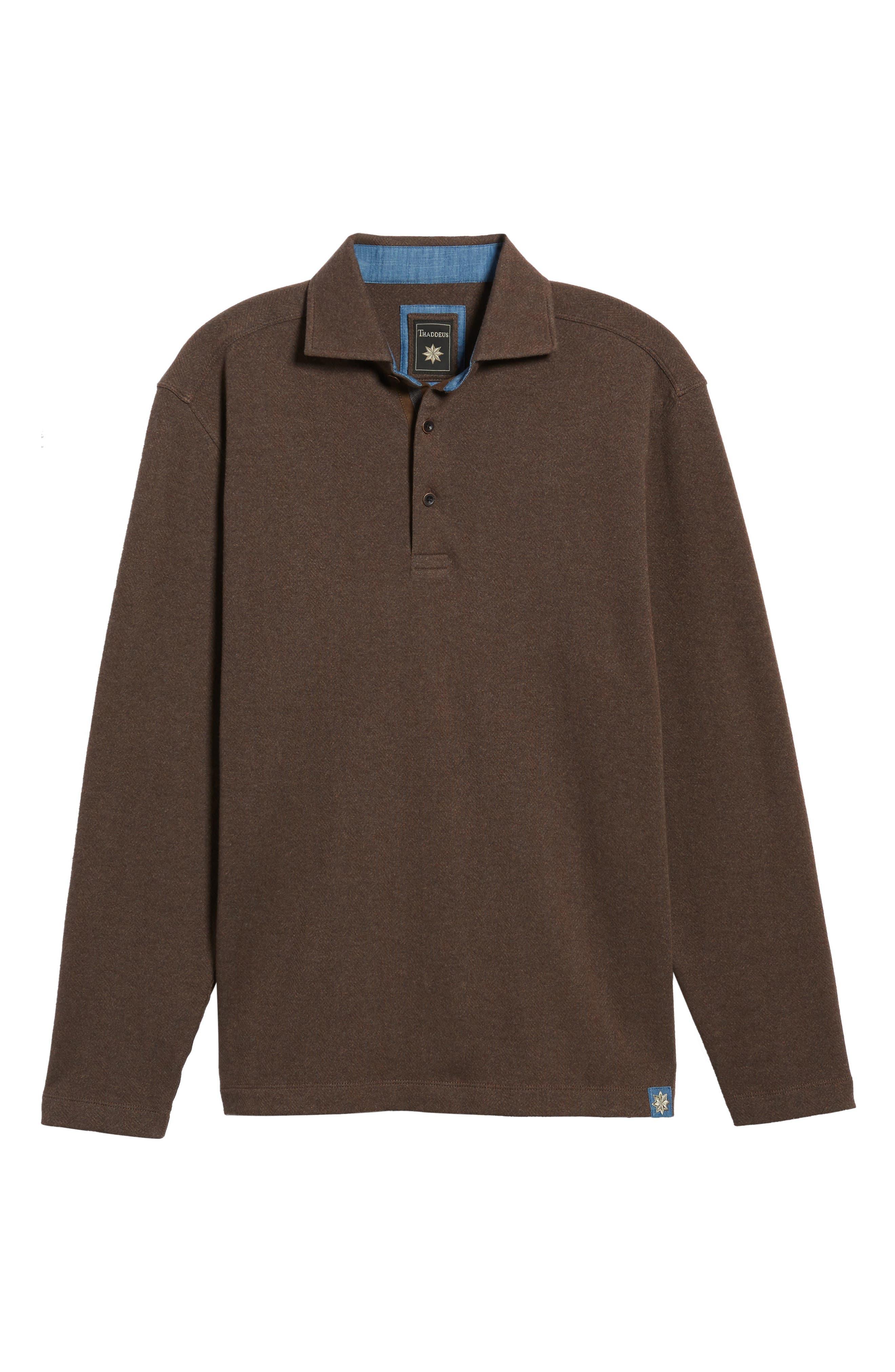 Reiner Herringbone Long Sleeve Polo,                             Alternate thumbnail 6, color,                             227