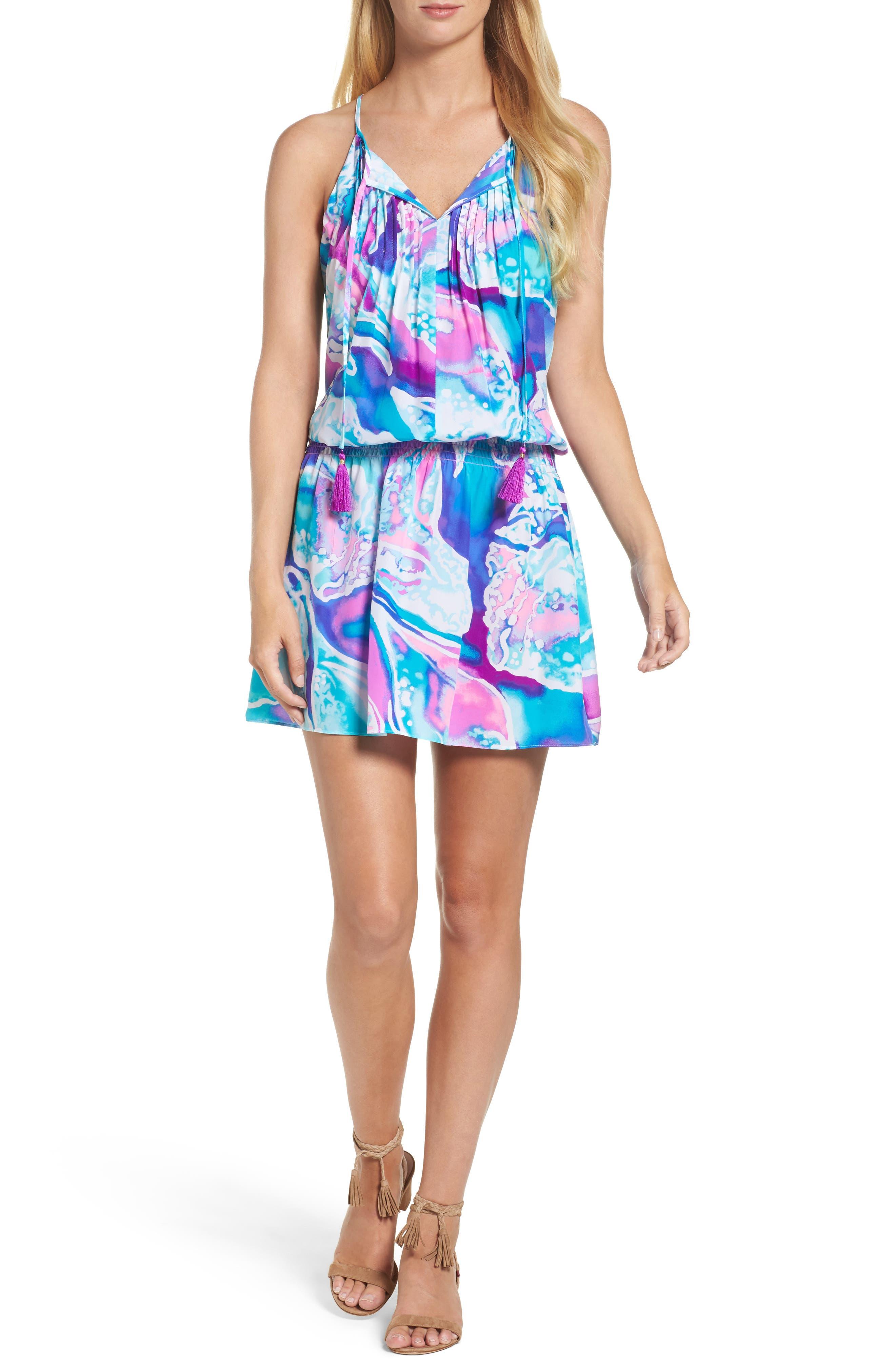 Minda Silk Blouson Dress,                         Main,                         color, 569