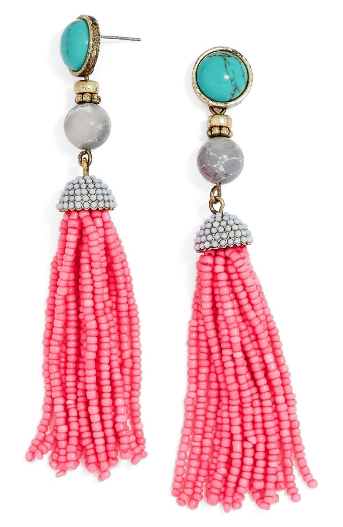 'Artemis' Beaded Tassel Drop Earrings,                             Main thumbnail 2, color,