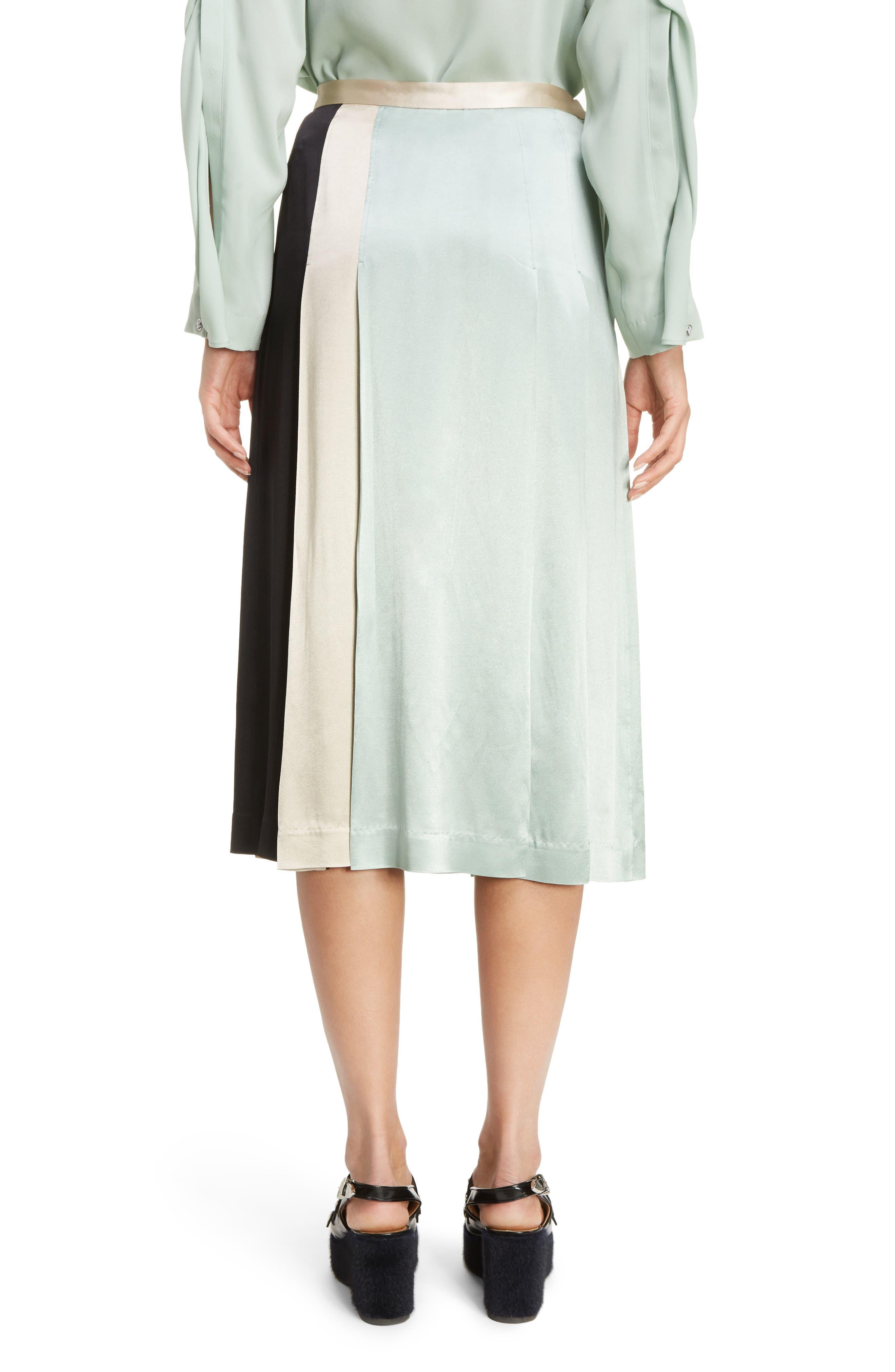 Pleated Satin Skirt,                             Alternate thumbnail 2, color,                             300