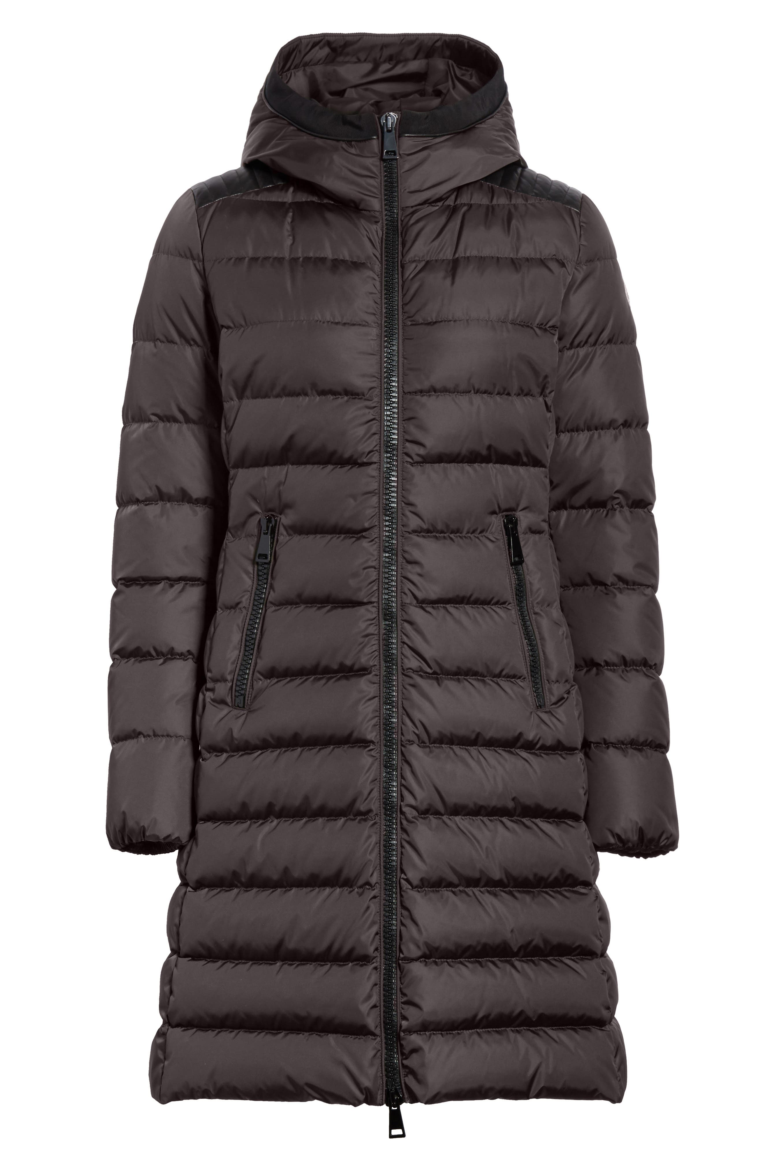 Taleve Hooded Quilted Down Coat,                             Alternate thumbnail 5, color,                             GREY