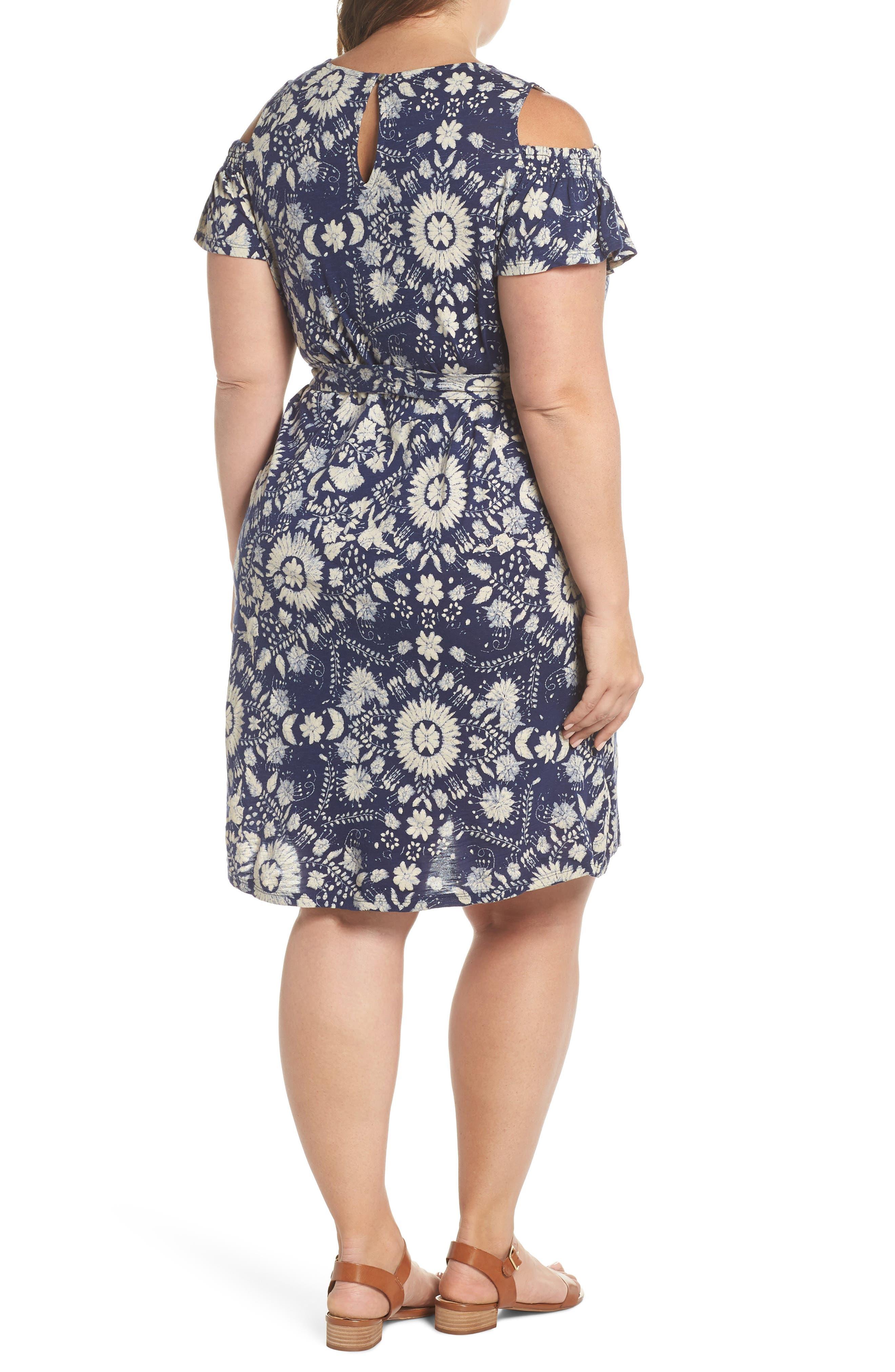 Cold Shoulder Print Belted Dress,                             Alternate thumbnail 2, color,                             460
