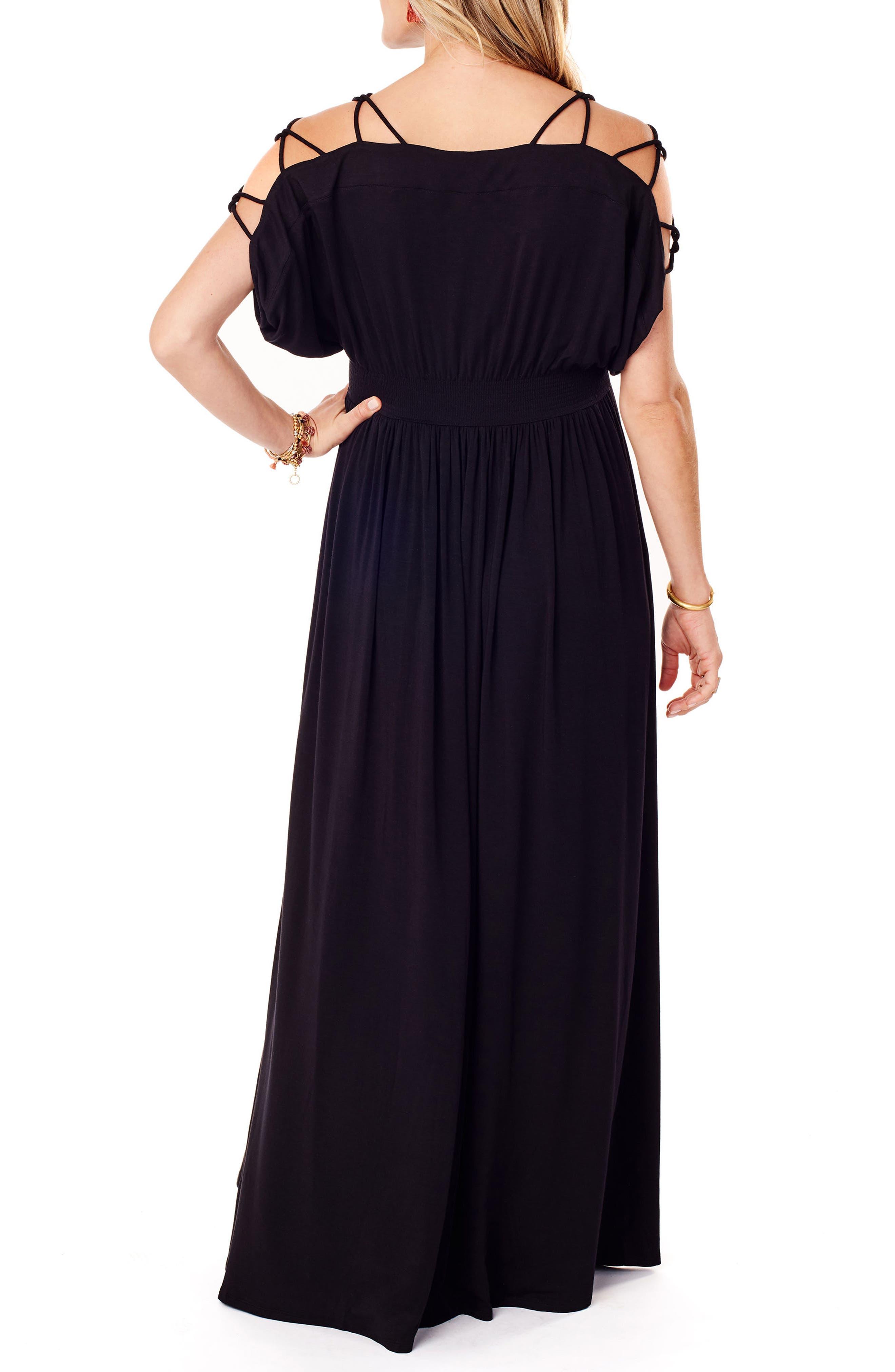 Smocked Empire Waist Maternity Maxi Dress,                             Alternate thumbnail 2, color,                             JET BLACK