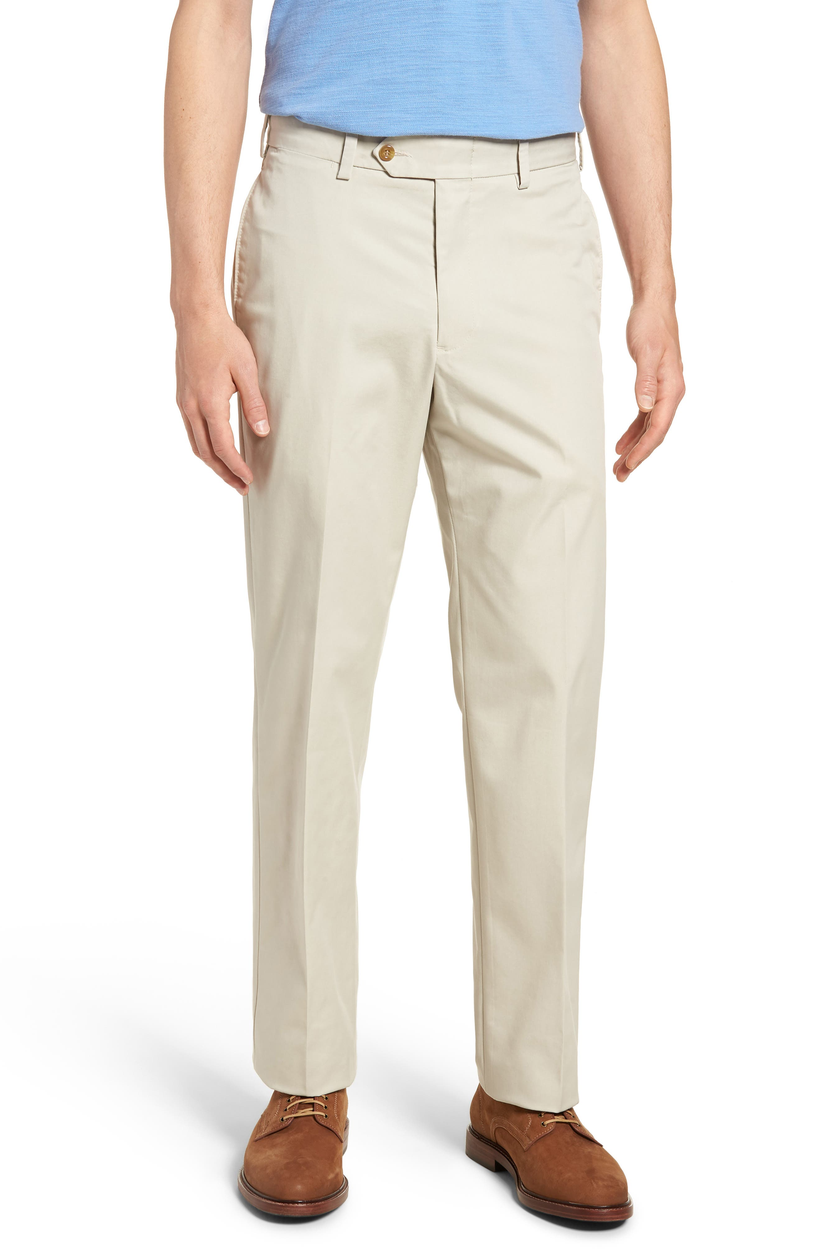 M2 Classic Fit Flat Front Travel Twill Pants,                         Main,                         color, CEMENT