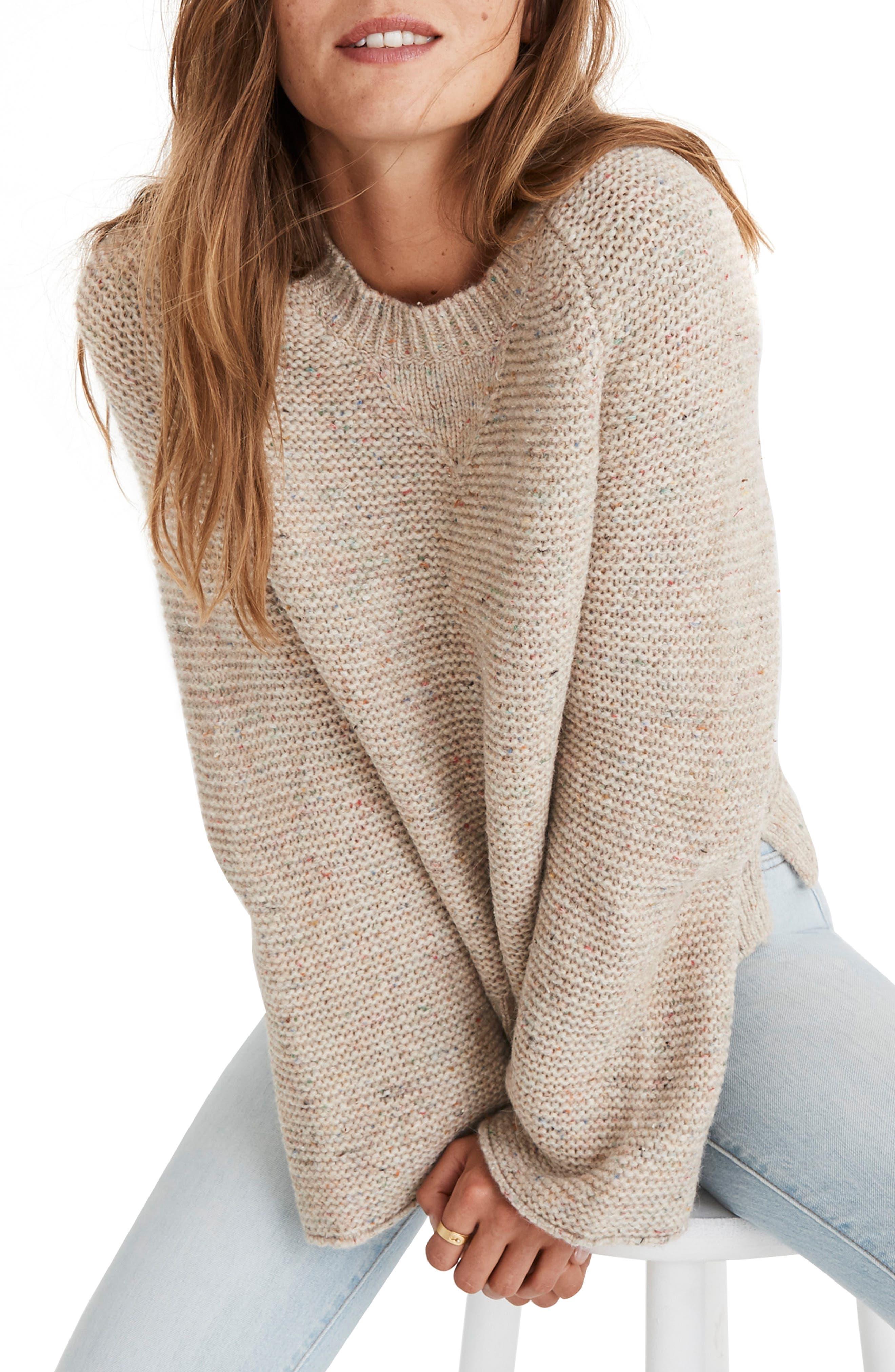 MADEWELL Flecked Wide Sleeve Sweater, Main, color, 020