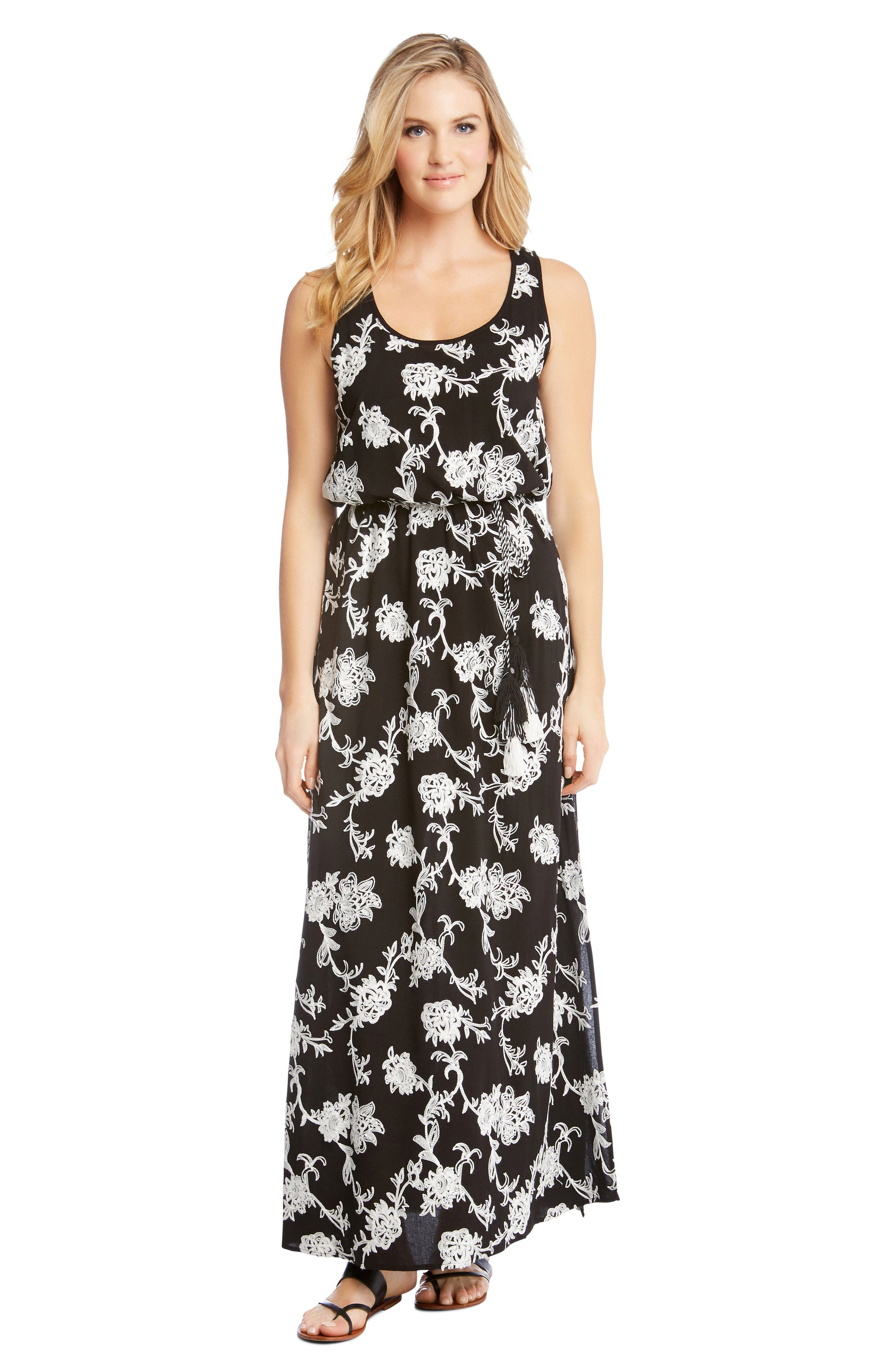 Embroidered A-Line Max Dress,                             Alternate thumbnail 3, color,                             BLACK