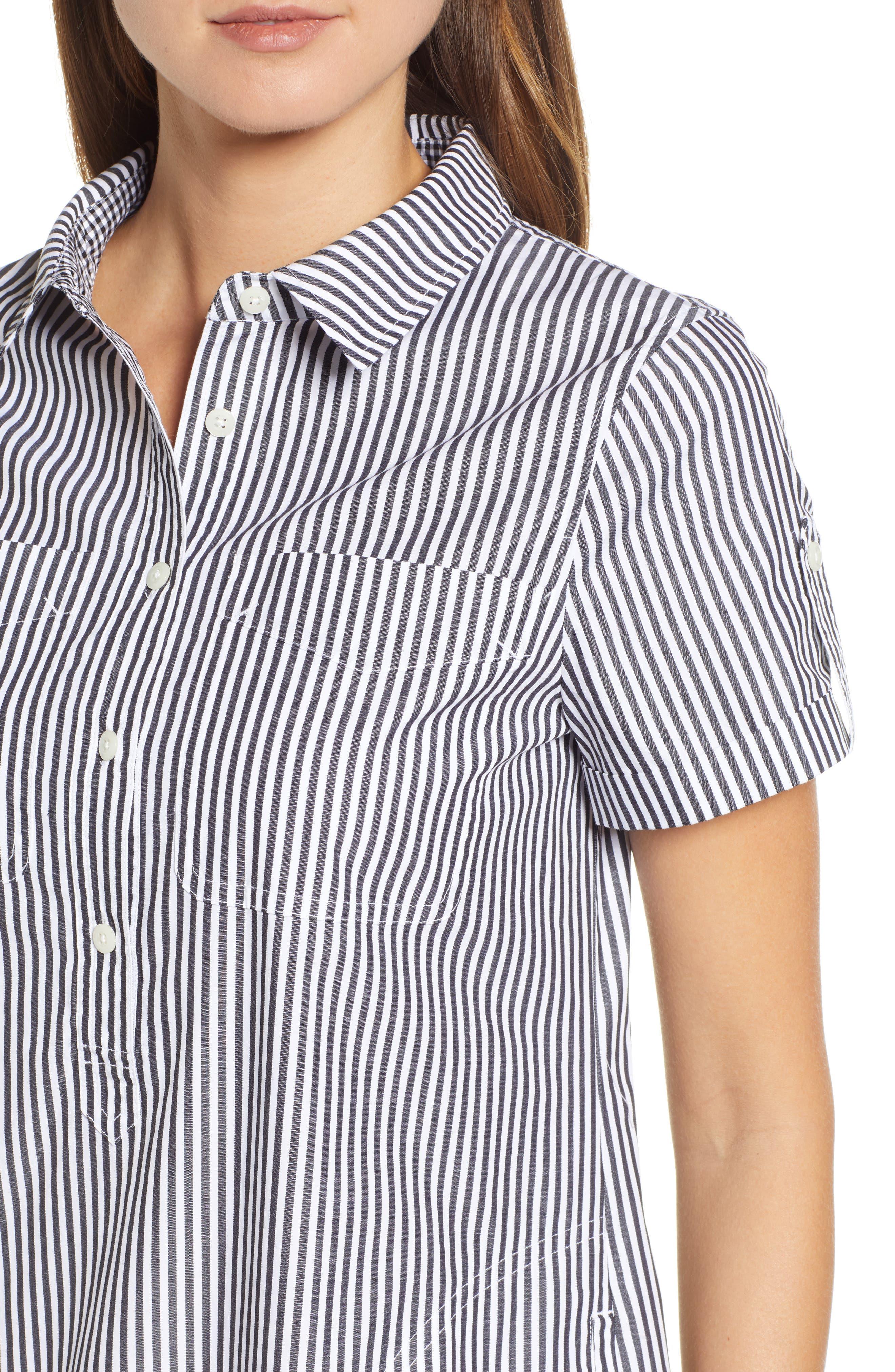 Stripe Utility Shirtdress,                             Alternate thumbnail 4, color,                             002