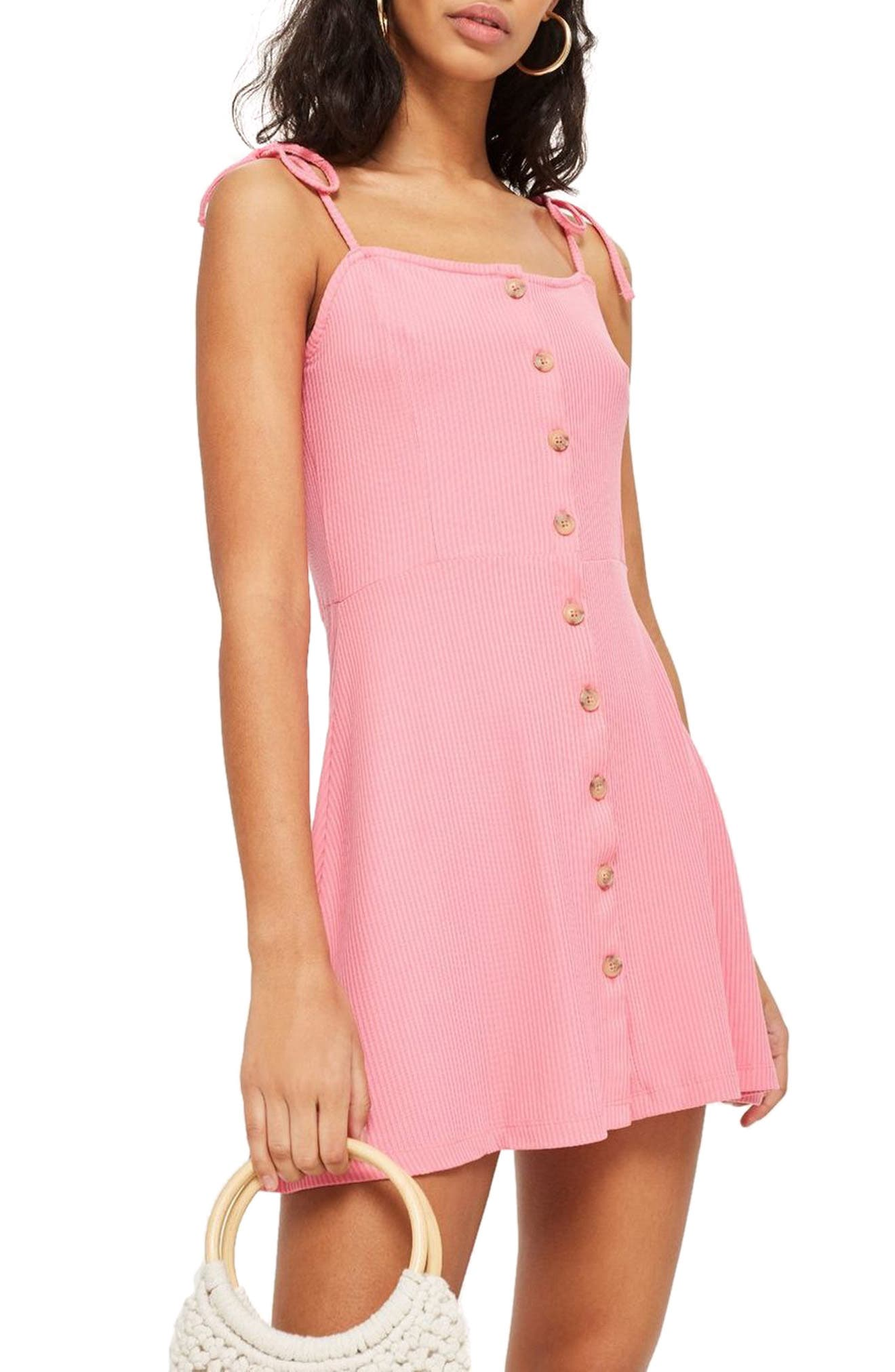 Button Down Rib Minidress,                         Main,                         color, PINK