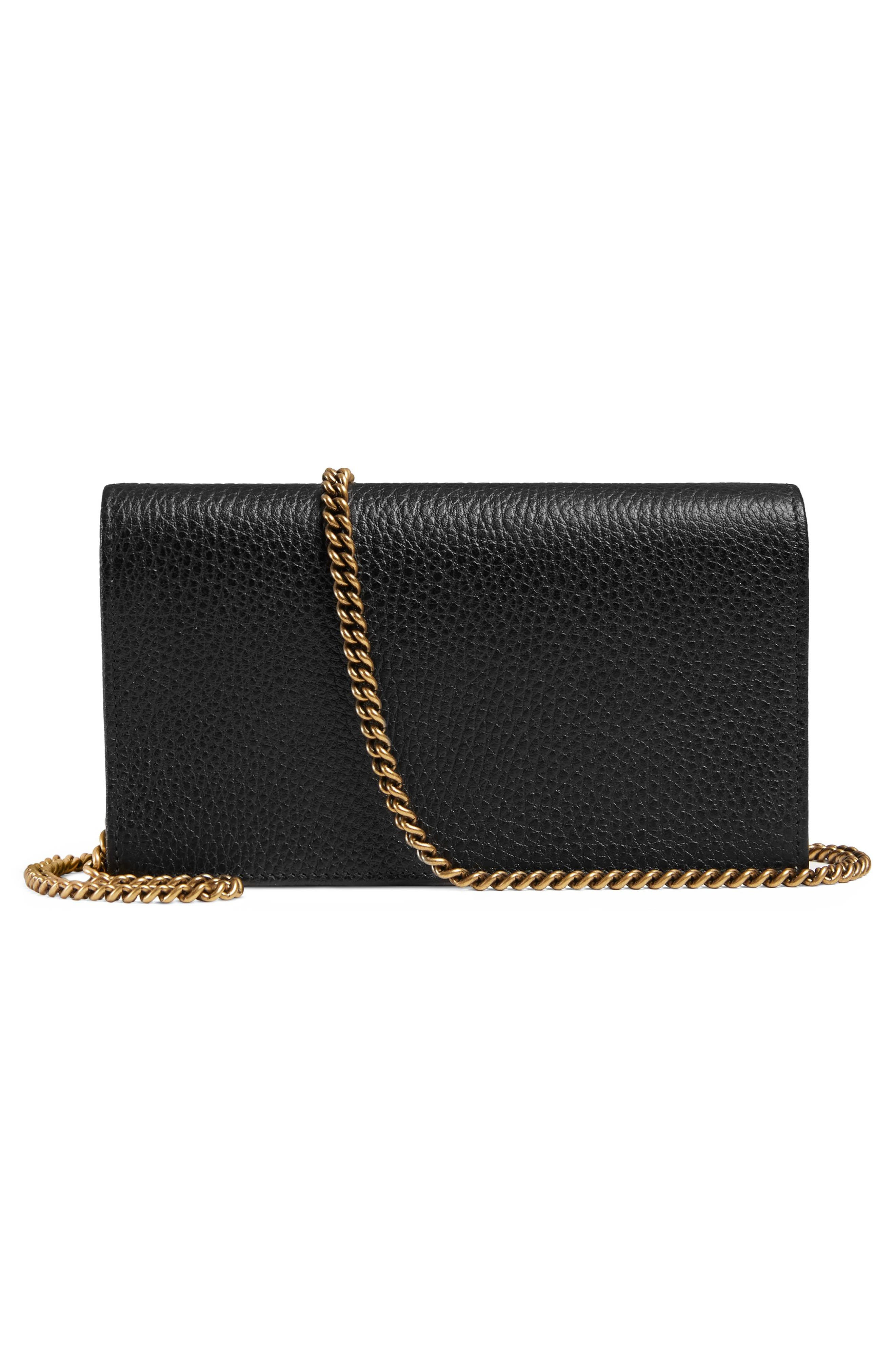 Fiocchino Leather Wallet on a Chain,                             Alternate thumbnail 3, color,                             001