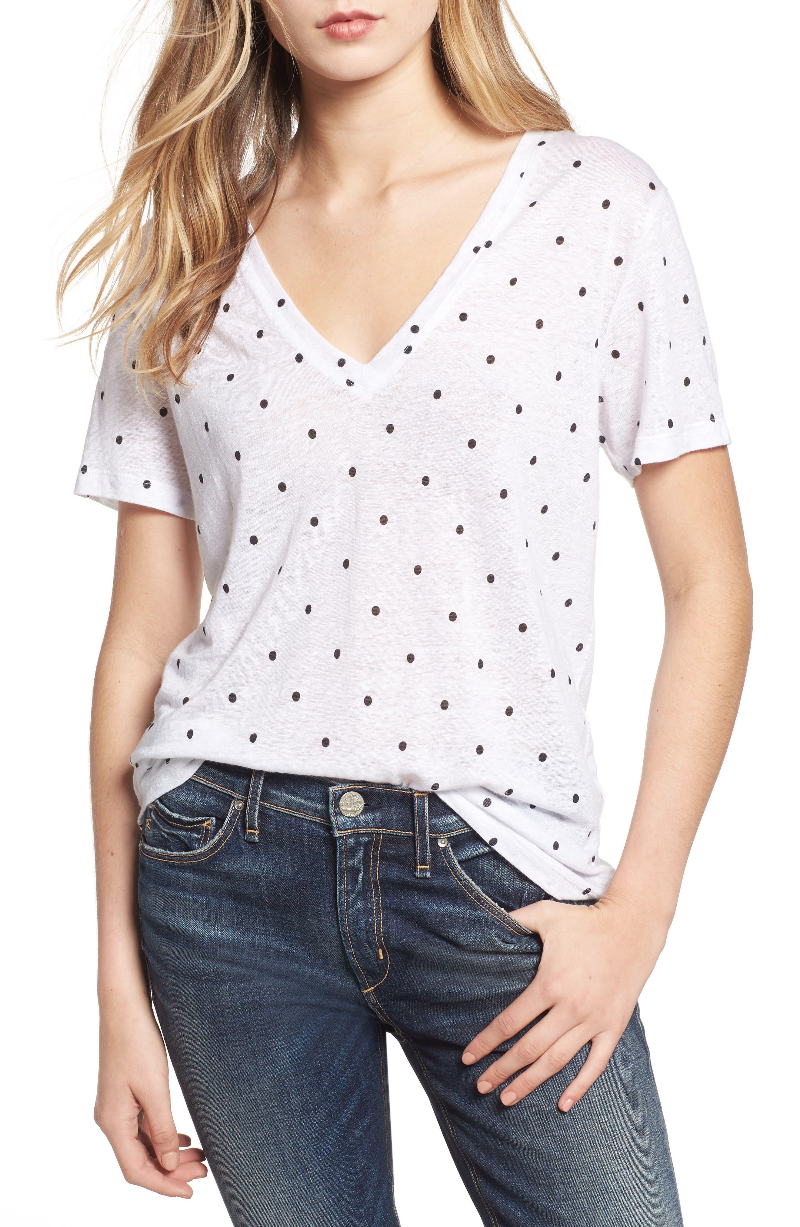 Cara V-Neck Slub Knit Tee in White Black Polka Dots
