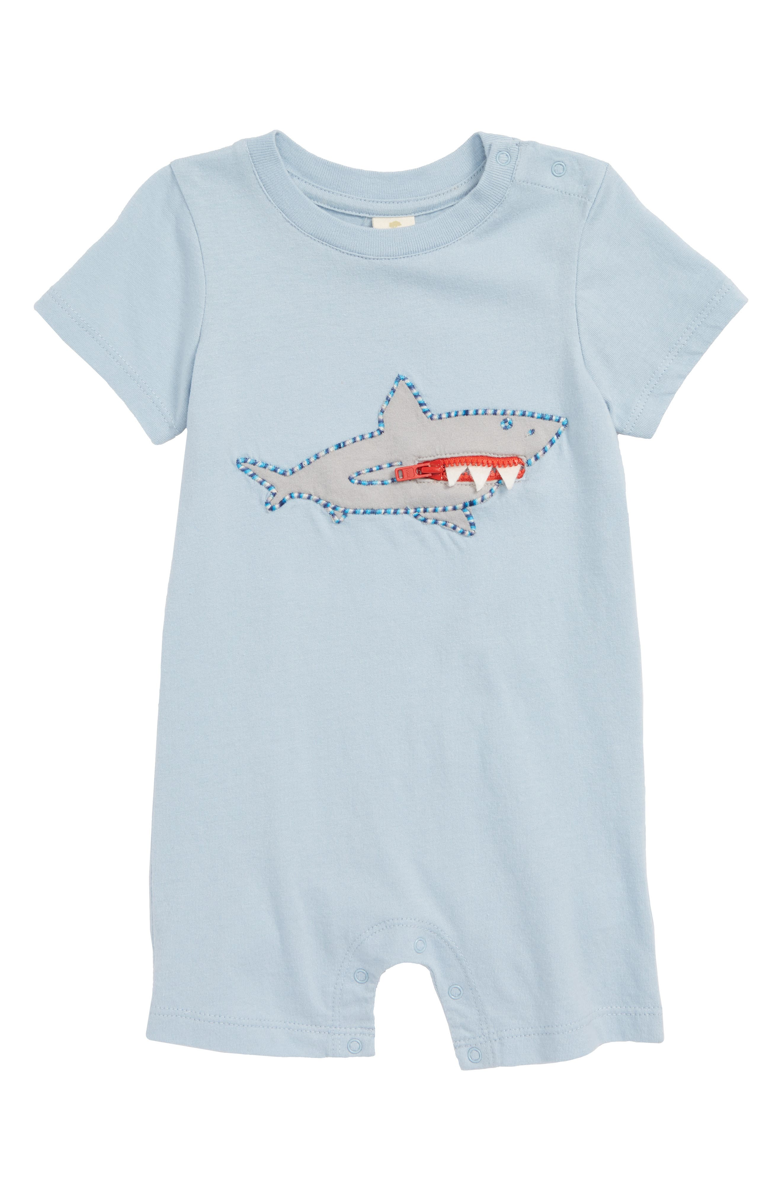 Shark Zip Mouth Romper,                             Main thumbnail 1, color,                             420