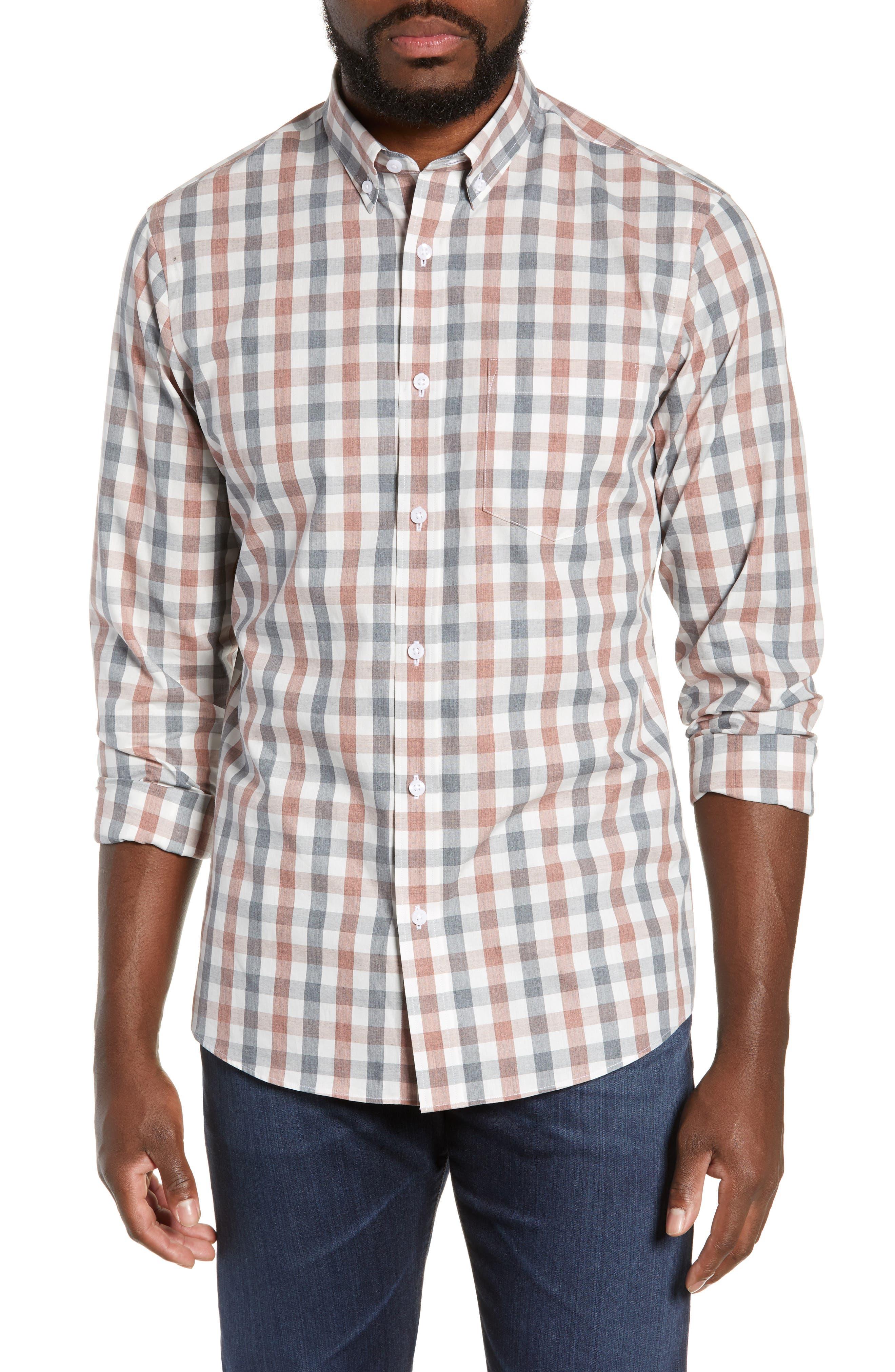 Check Sport Shirt, Main, color, GREY RED WHITE MELANGE CHECK