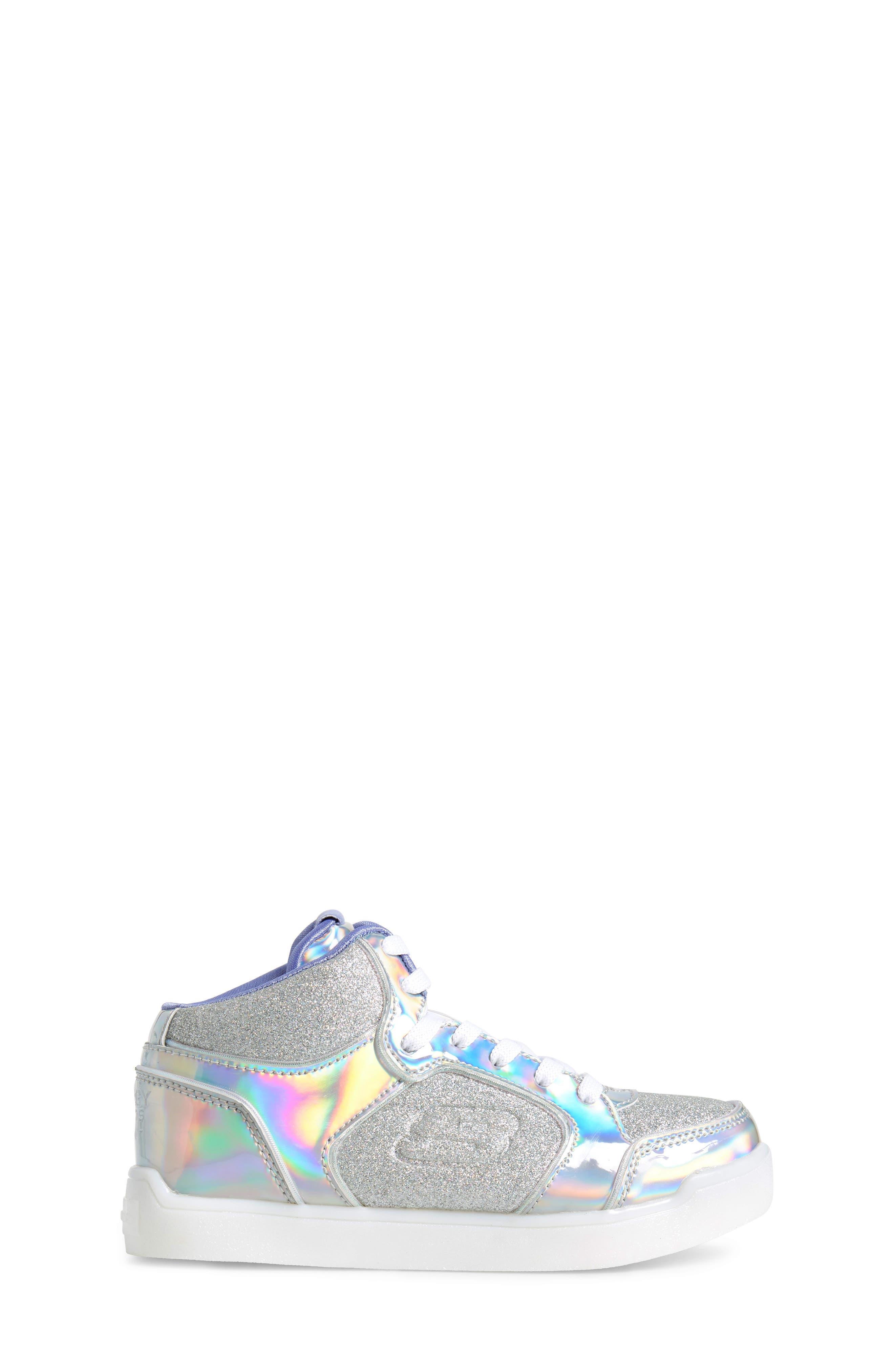 SKECHERS,                             Energy Lights Pro Ultra Light-Up Sneaker,                             Alternate thumbnail 3, color,                             SILVER