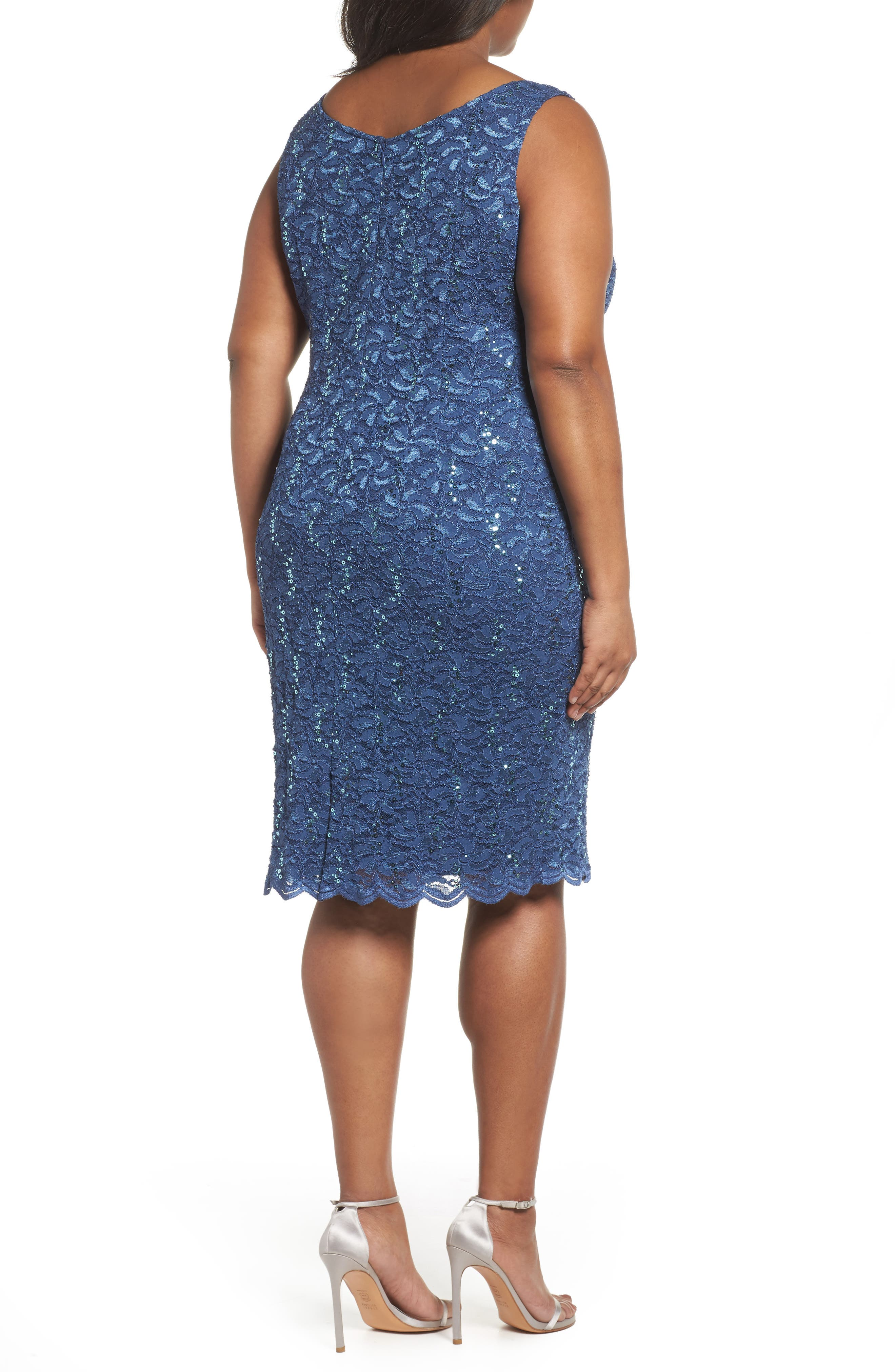 Sequin Lace Sheath Dress with Jacket,                             Alternate thumbnail 4, color,