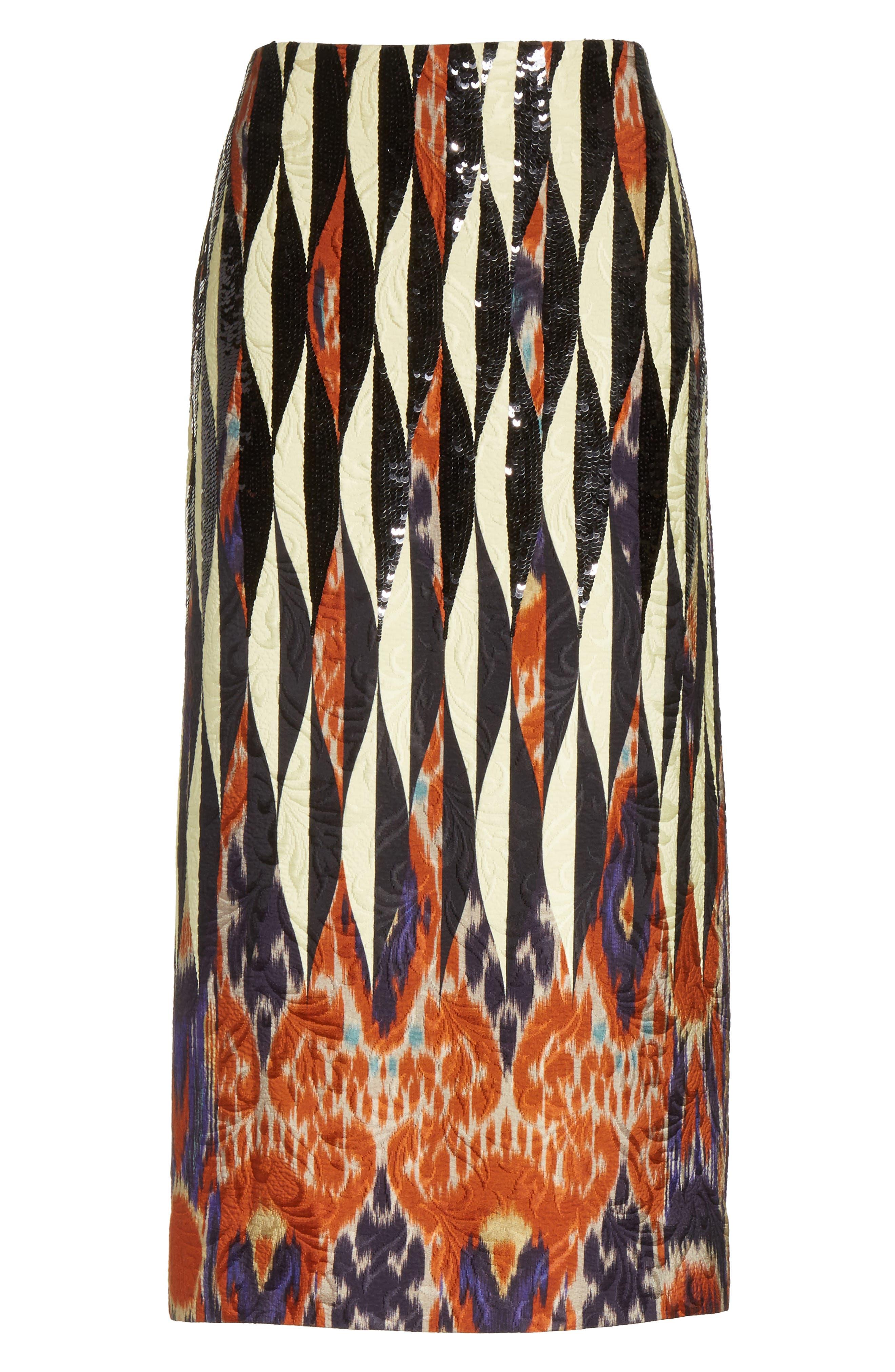 Embroidered Ikat Midi Skirt,                             Alternate thumbnail 6, color,                             800