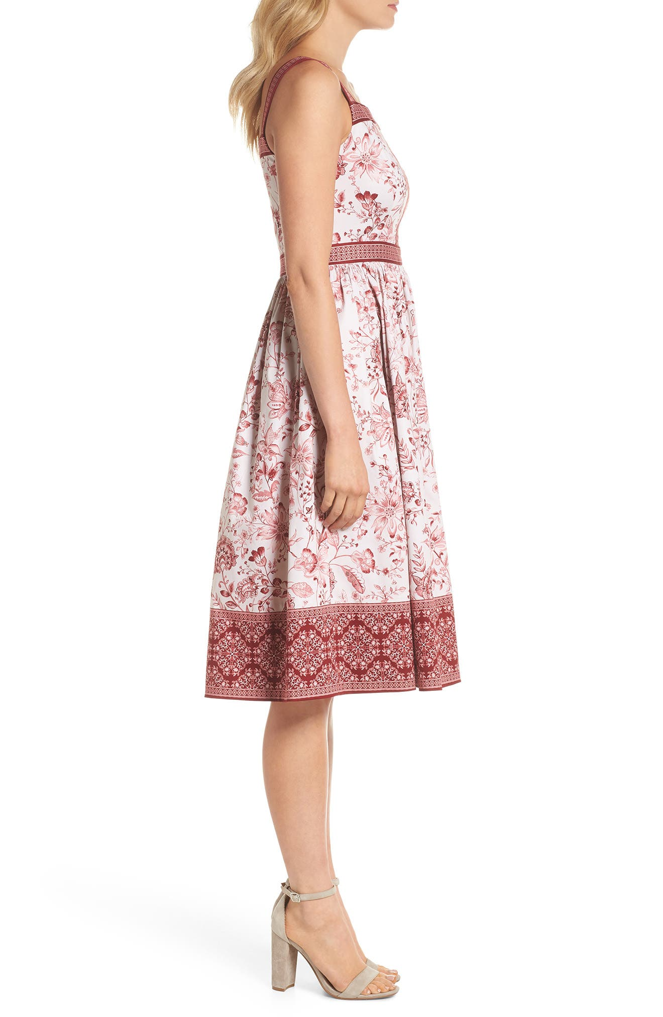 Esme Floral Fit & Flare Dress,                             Alternate thumbnail 3, color,                             690