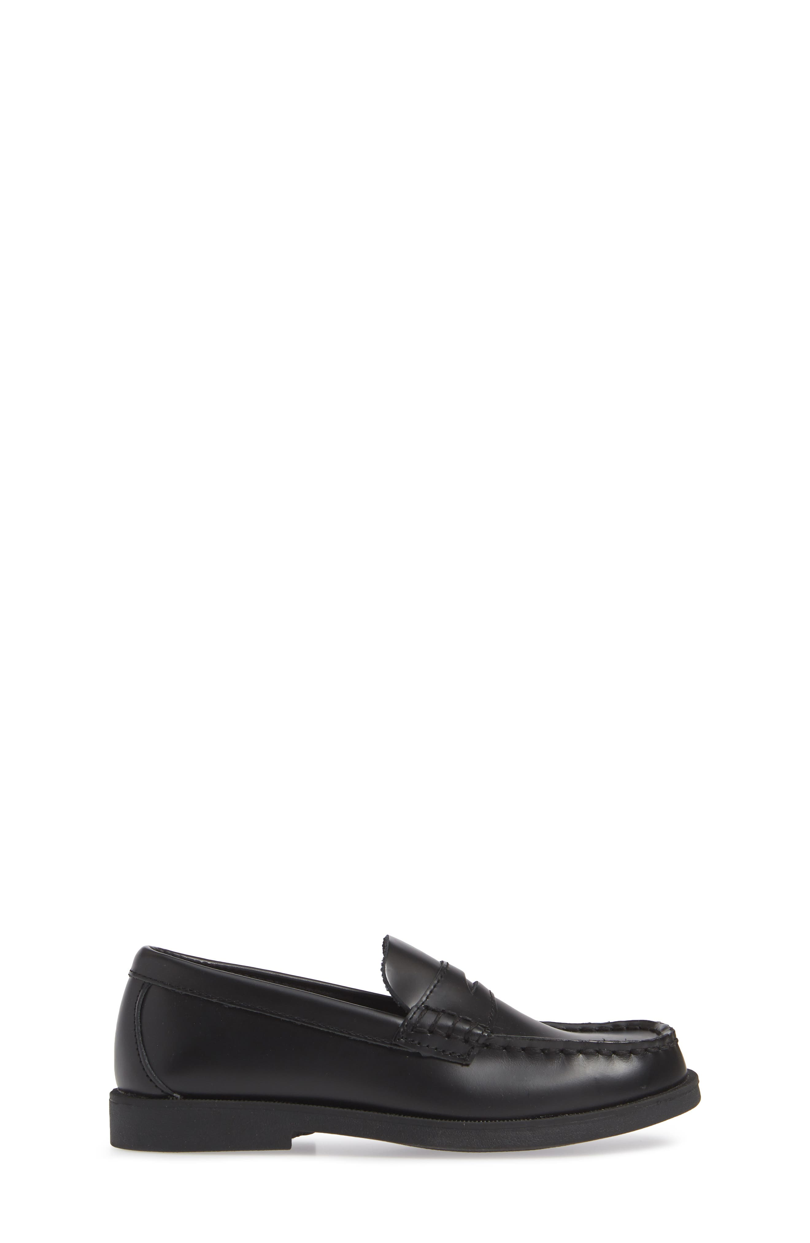 SPERRY KIDS,                             'Colton' Loafer,                             Alternate thumbnail 4, color,                             BLACK LEATHER