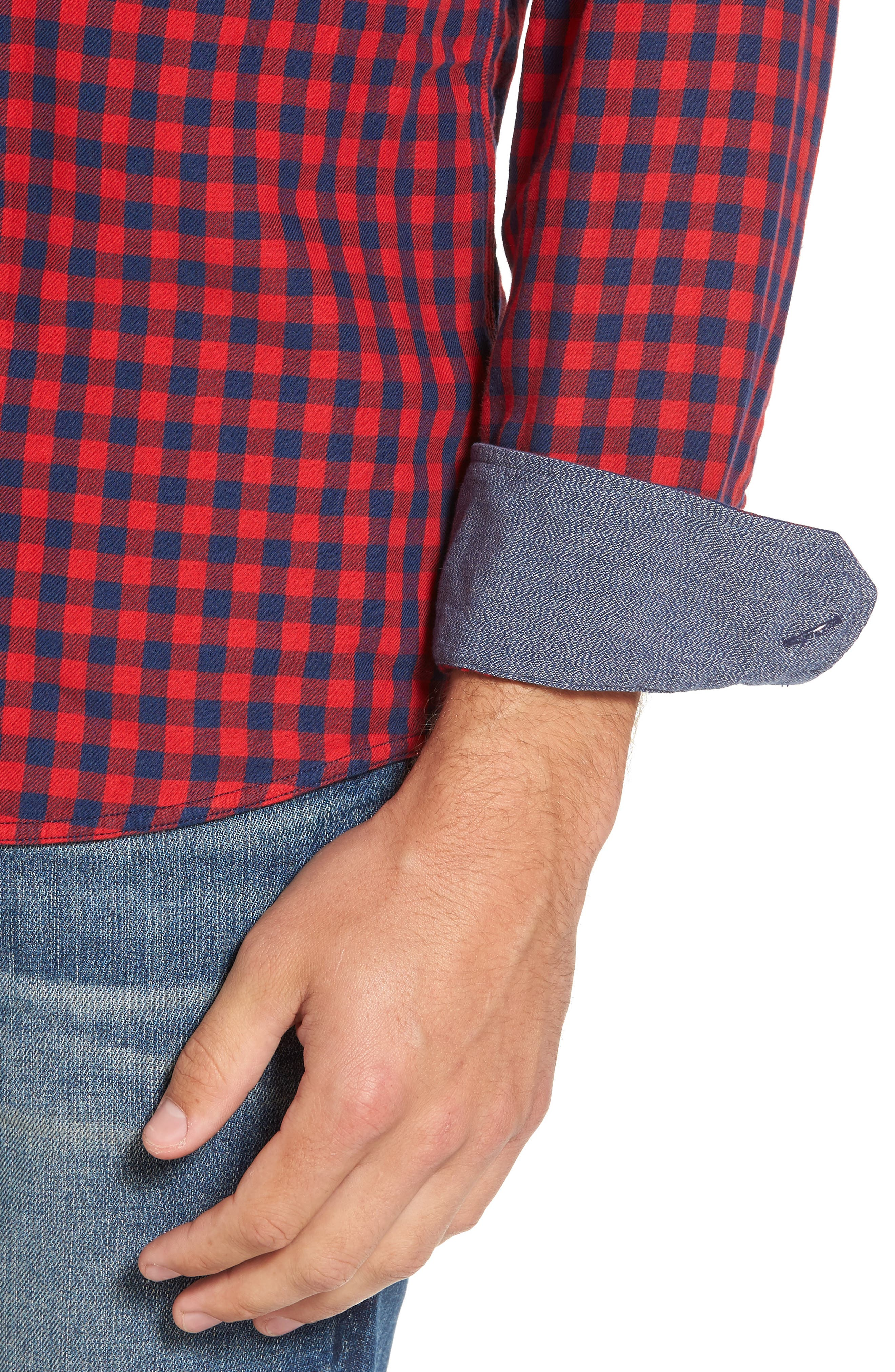 Buffalo Check Trim Fit Sport Shirt,                             Alternate thumbnail 4, color,                             610