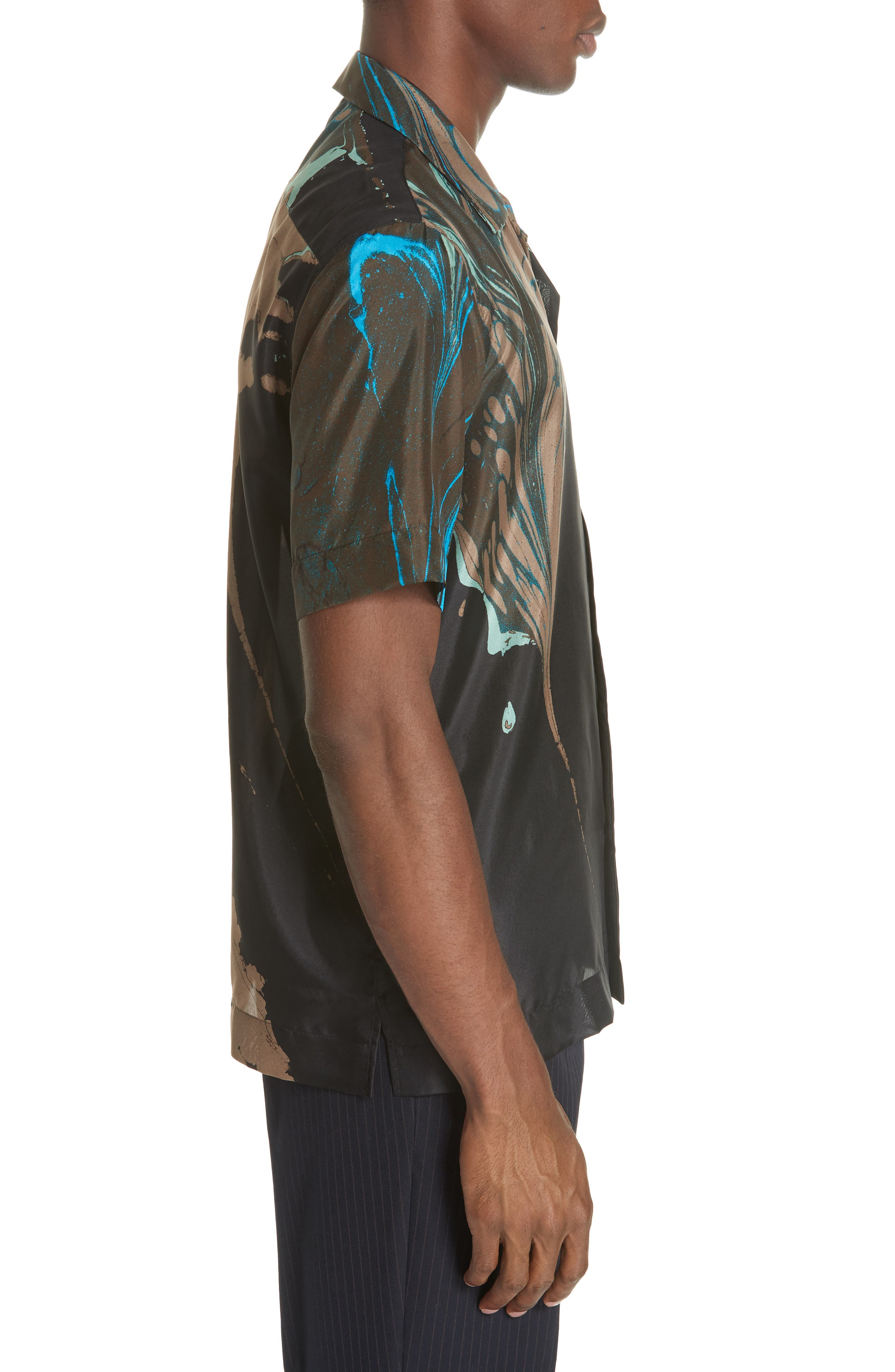 Carlton Print Silk Camp Shirt,                             Alternate thumbnail 3, color,                             BLACK