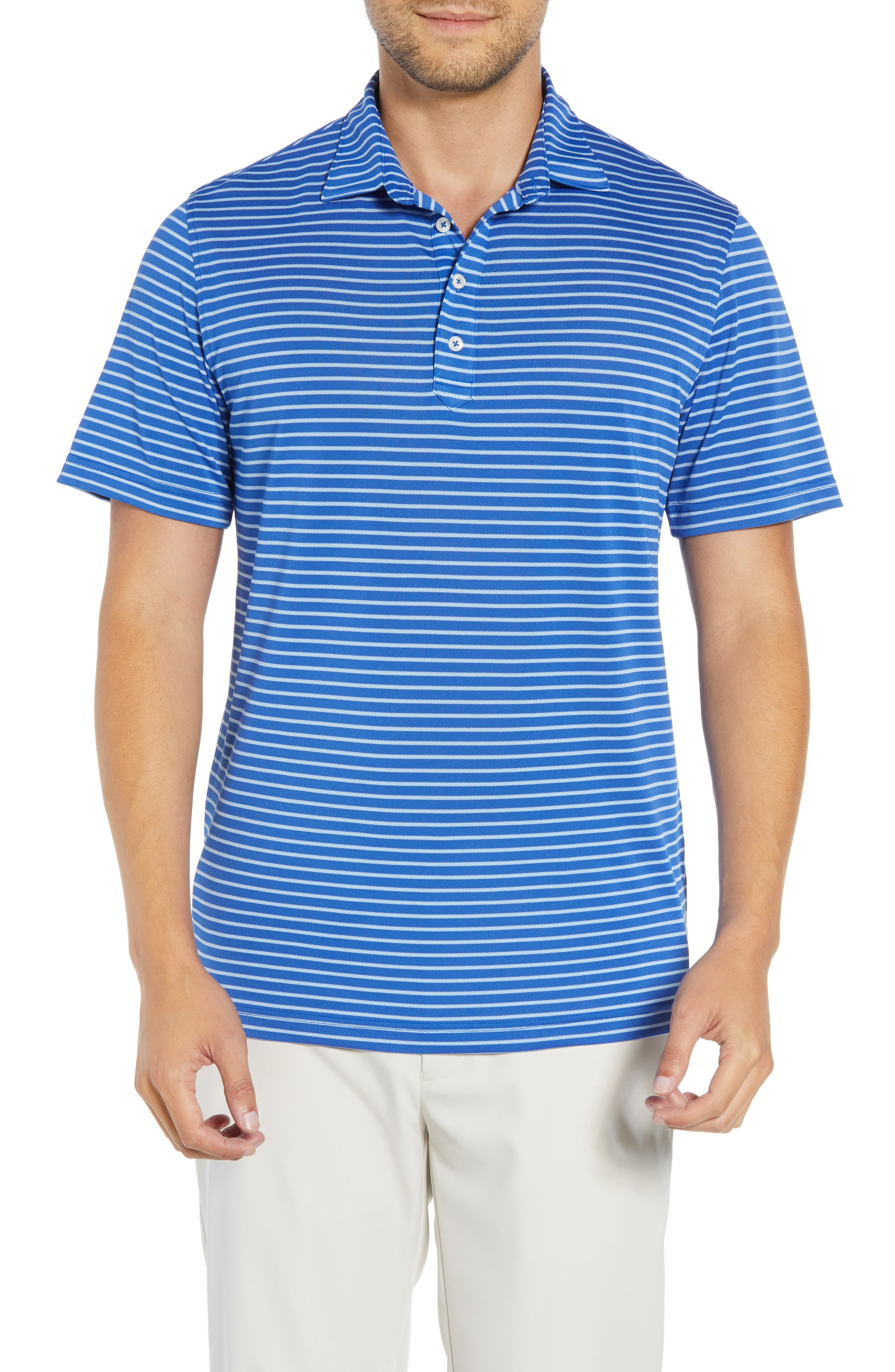JOHNNIE-O Myers Regular Fit Stripe Prep-Formance Polo in Marlin