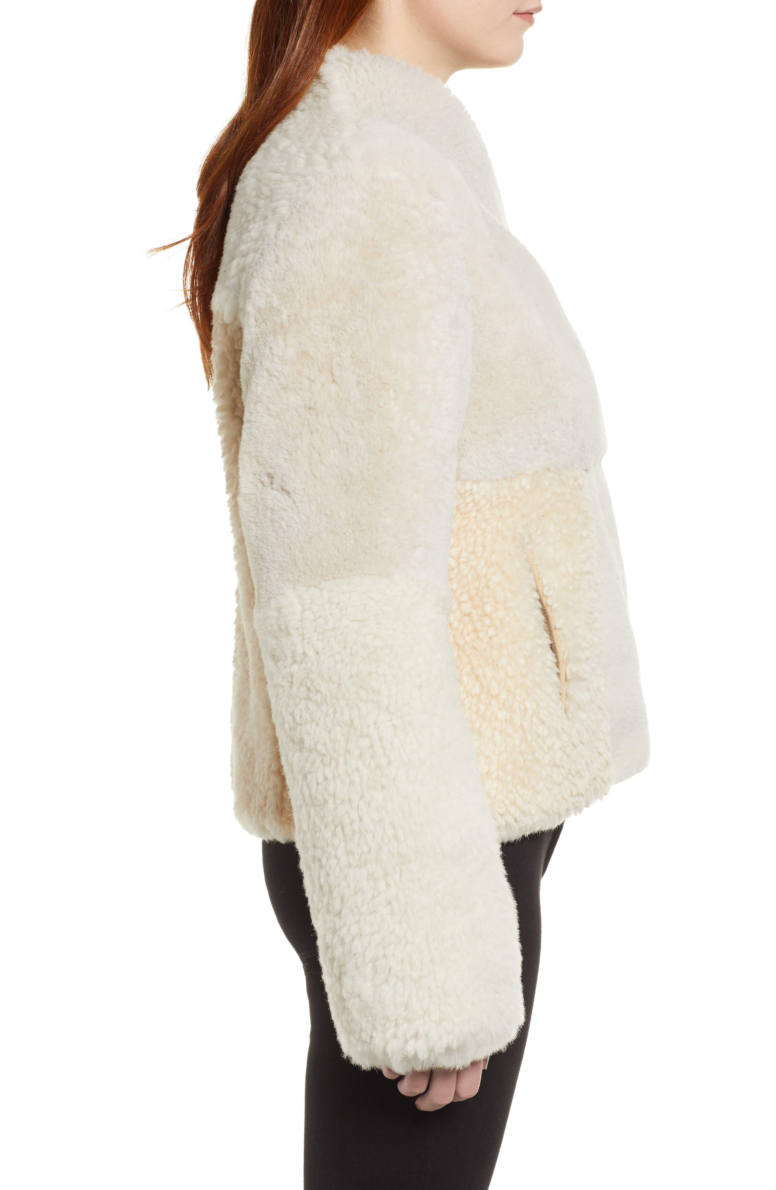 Patchwork Genuine Shearling Jacket,                             Alternate thumbnail 3, color,                             CREAM