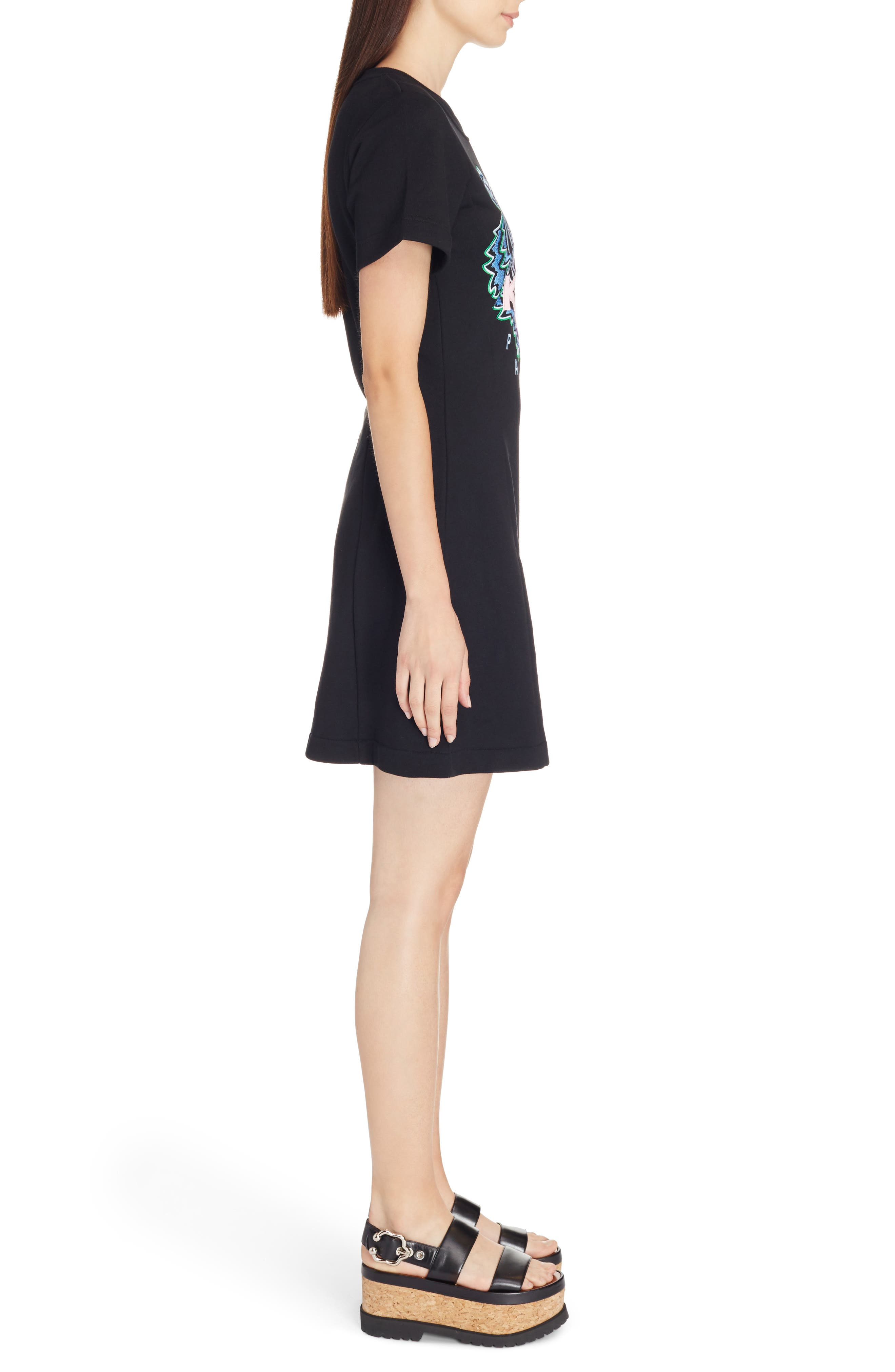 Tiger Flare Embroidered T-Shirt Dress,                             Alternate thumbnail 3, color,                             BLACK