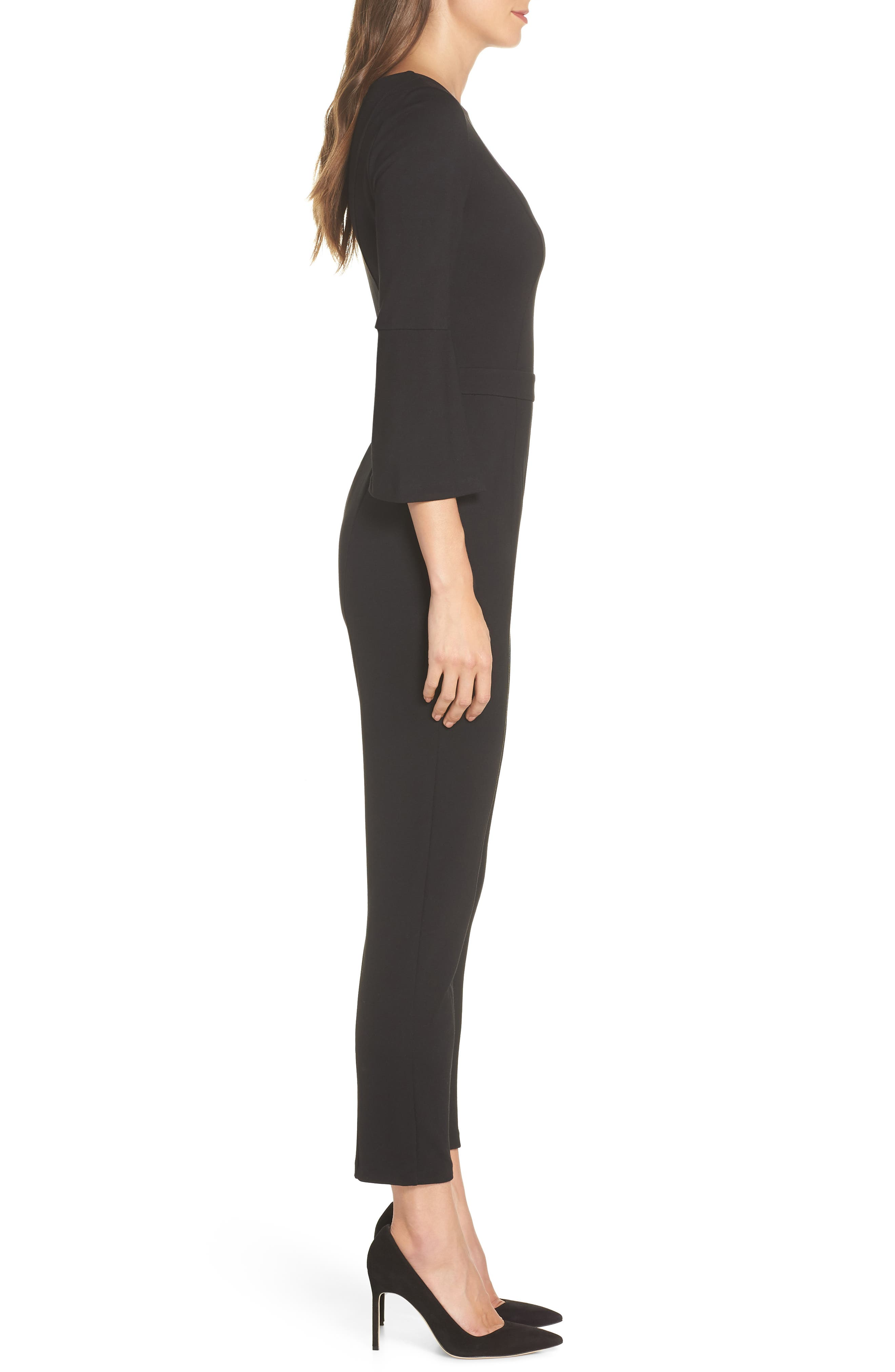 Slit Sleeve Slim Leg Jumpsuit,                             Alternate thumbnail 3, color,                             BLACK