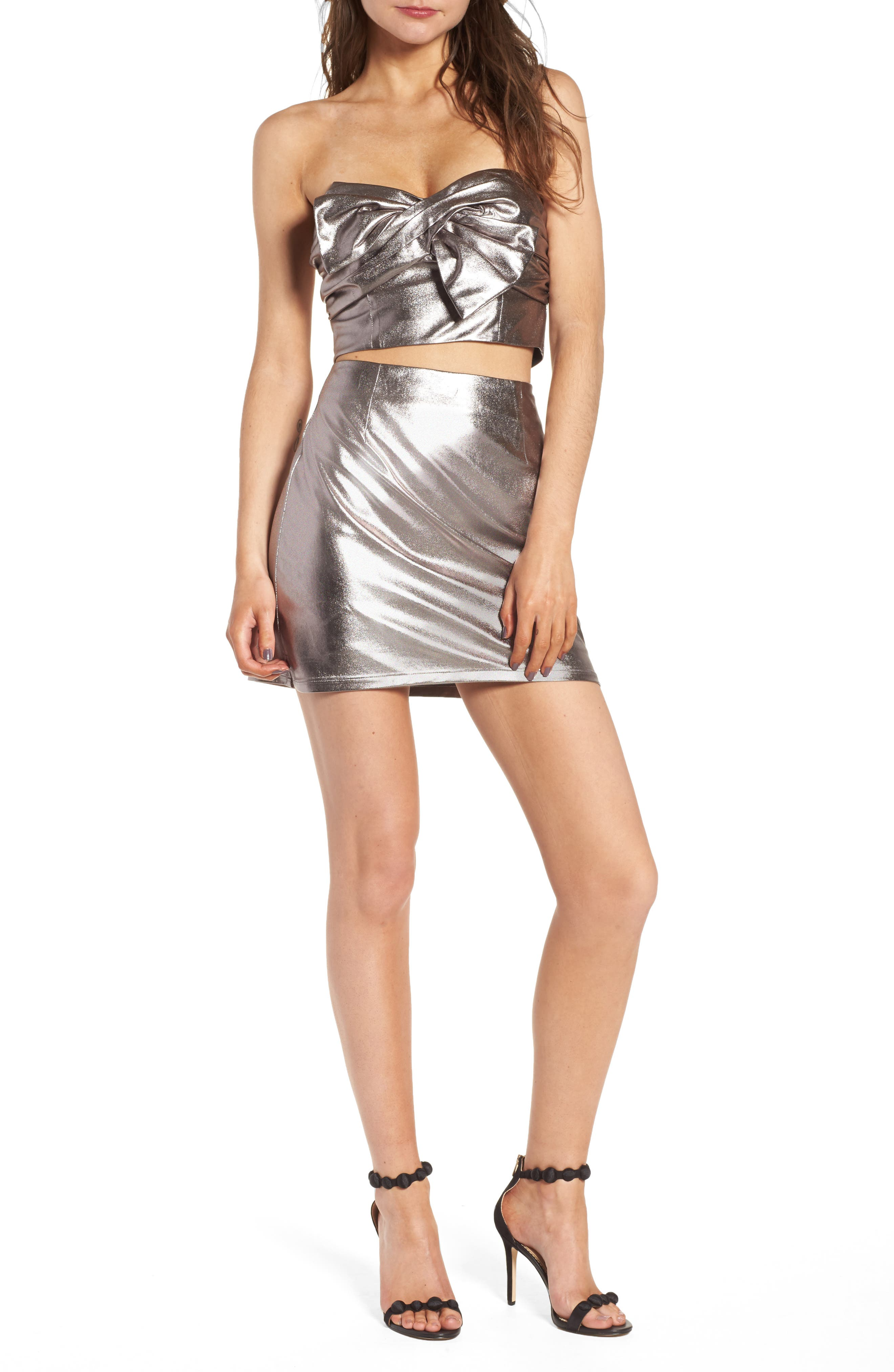 Lovers+ Friends Back to Basics Silver Miniskirt,                             Alternate thumbnail 7, color,                             020