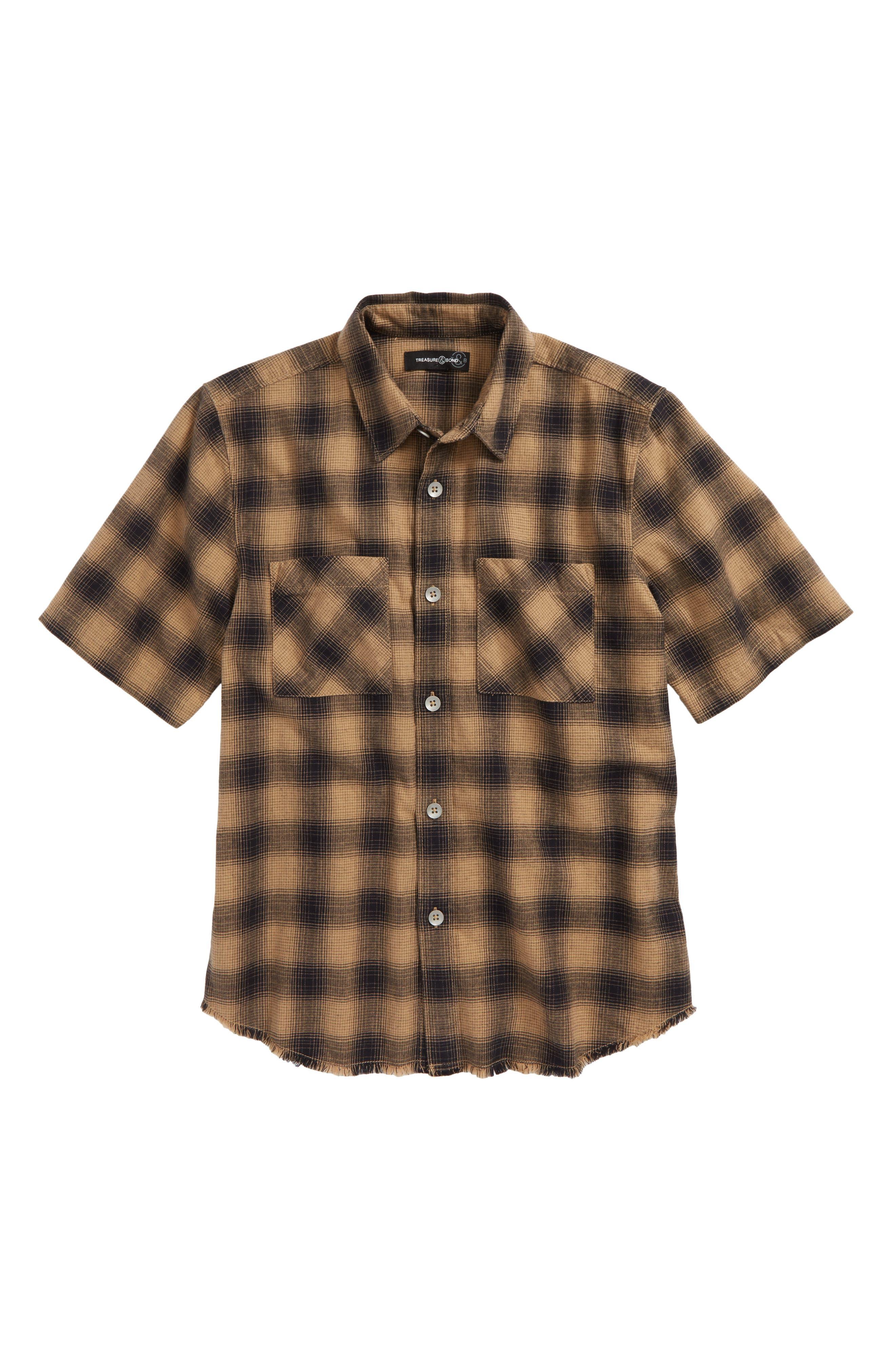 Distressed Plaid Flannel Shirt,                             Main thumbnail 1, color,                             210