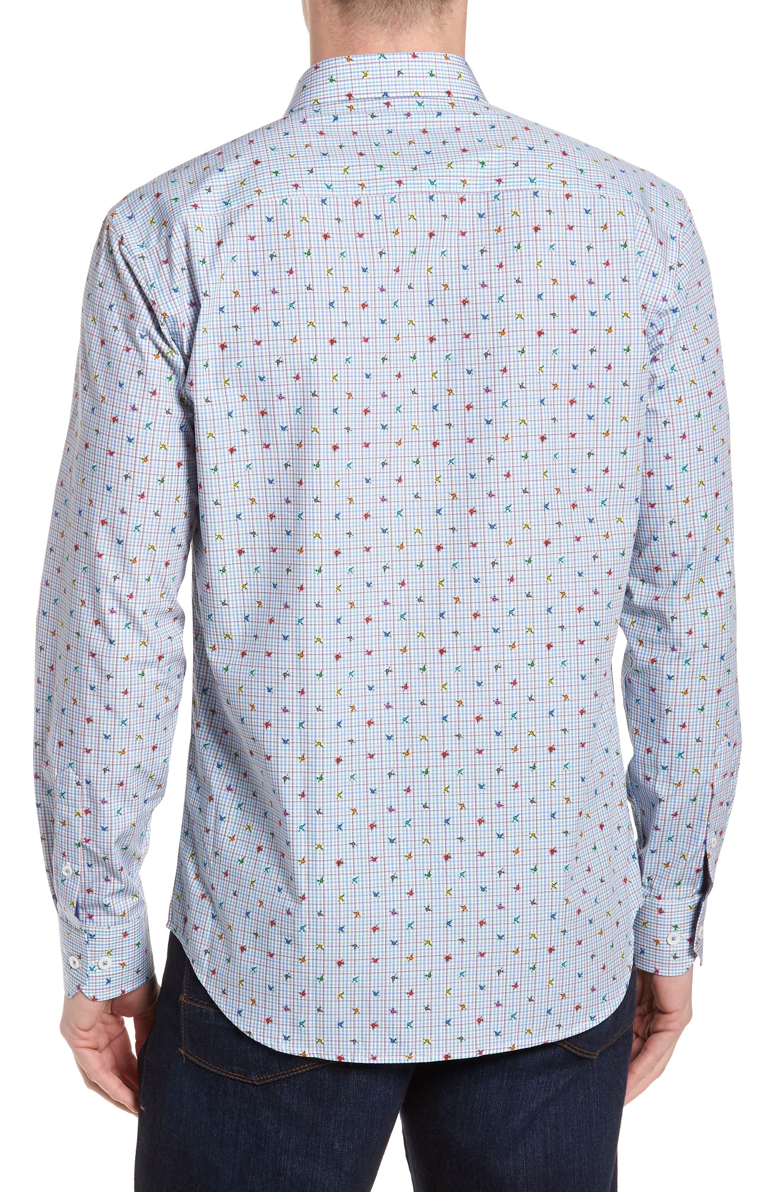 Shaped Fit Floral Check Sport Shirt,                             Alternate thumbnail 2, color,