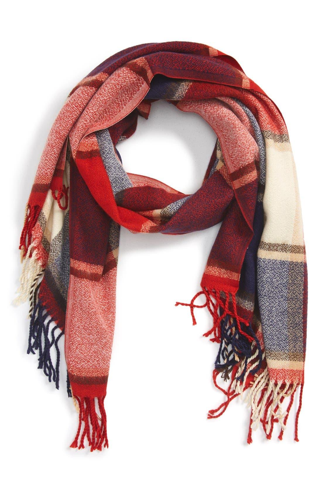 Plaid Fringe OblongScarf,                             Main thumbnail 1, color,                             600