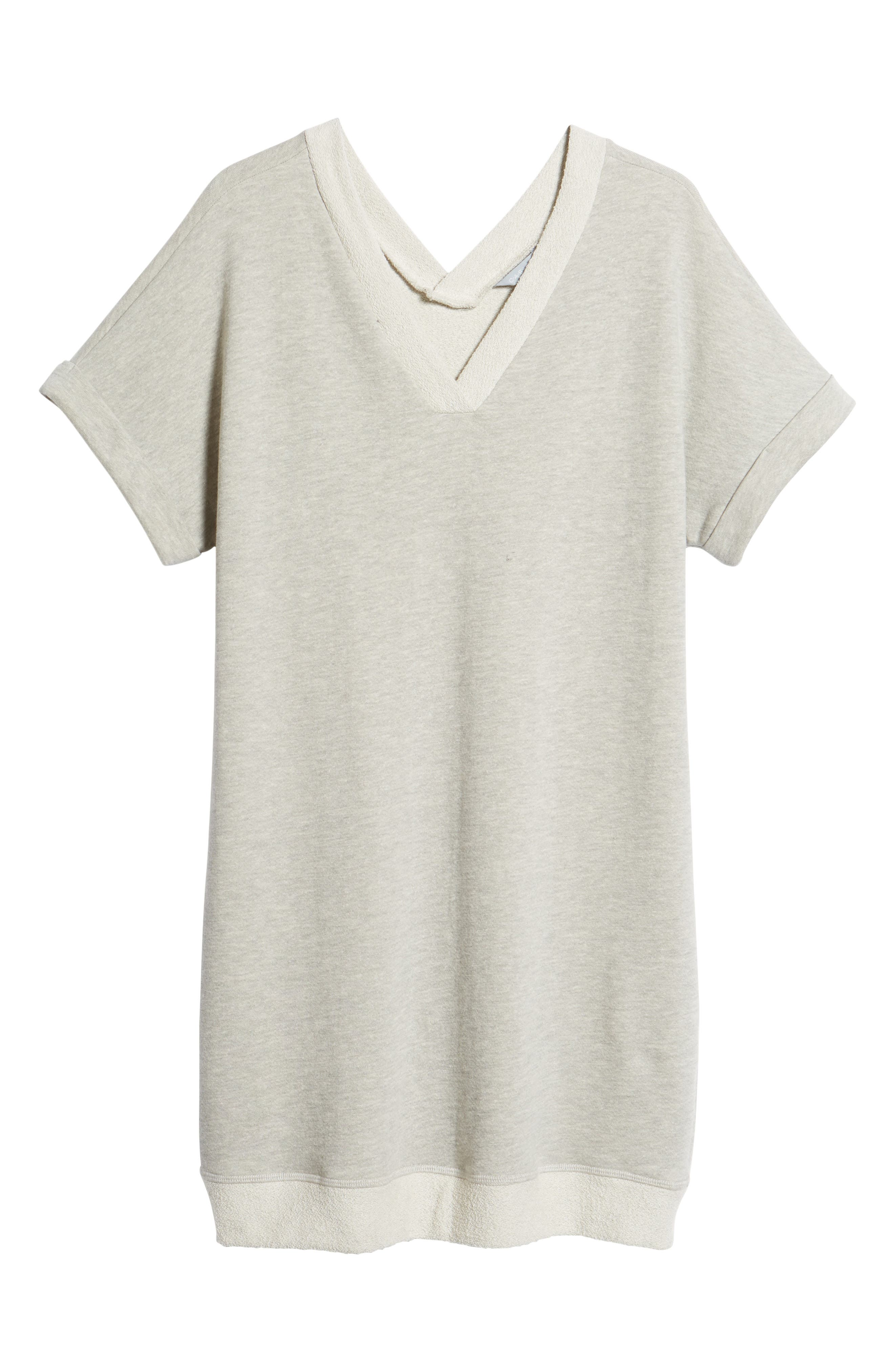 Off-Duty French Terry Dress,                             Alternate thumbnail 7, color,                             GREY HEATHER