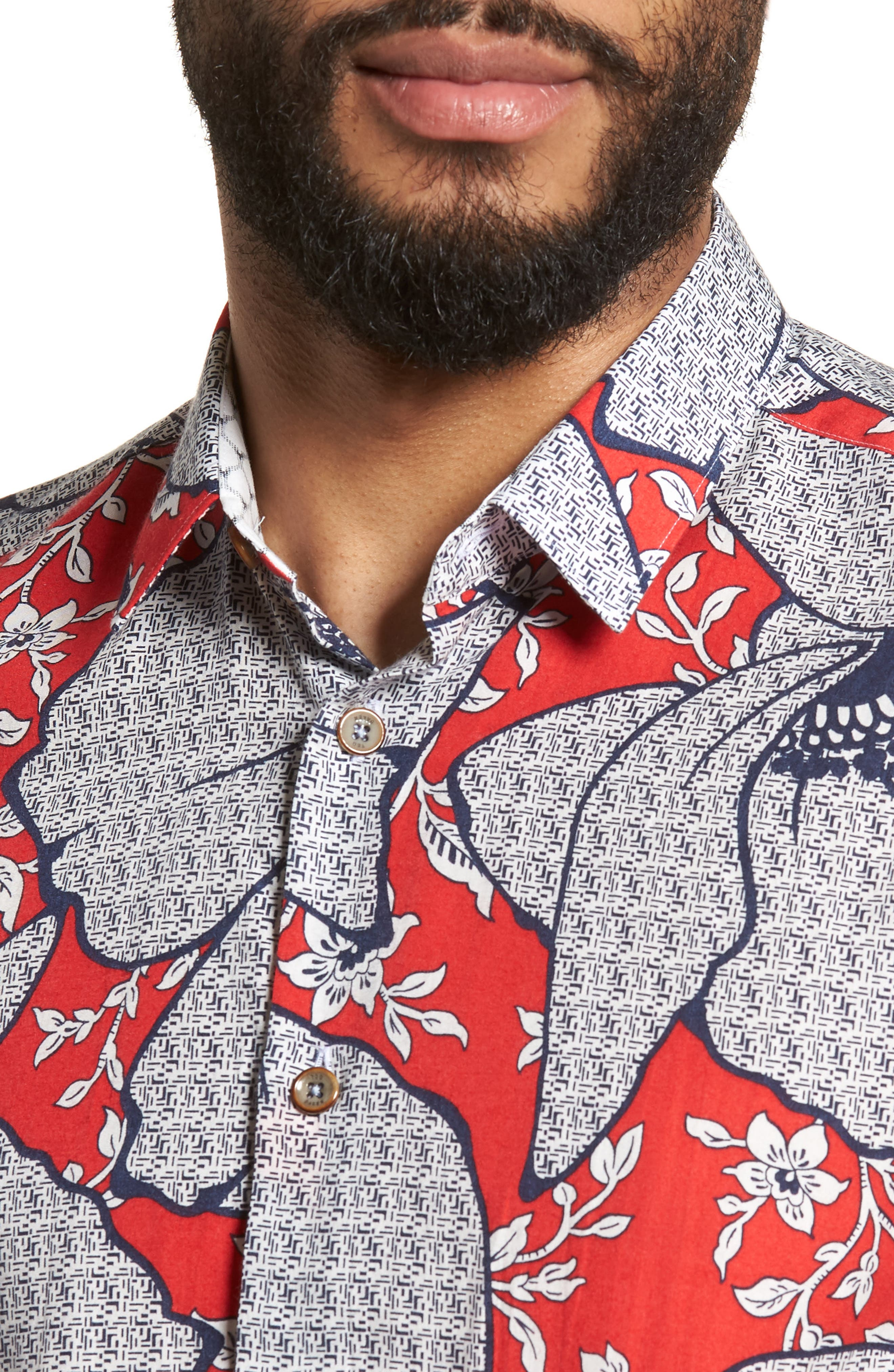 Sohot Trim Fit Floral Sport Shirt,                             Alternate thumbnail 4, color,                             RED