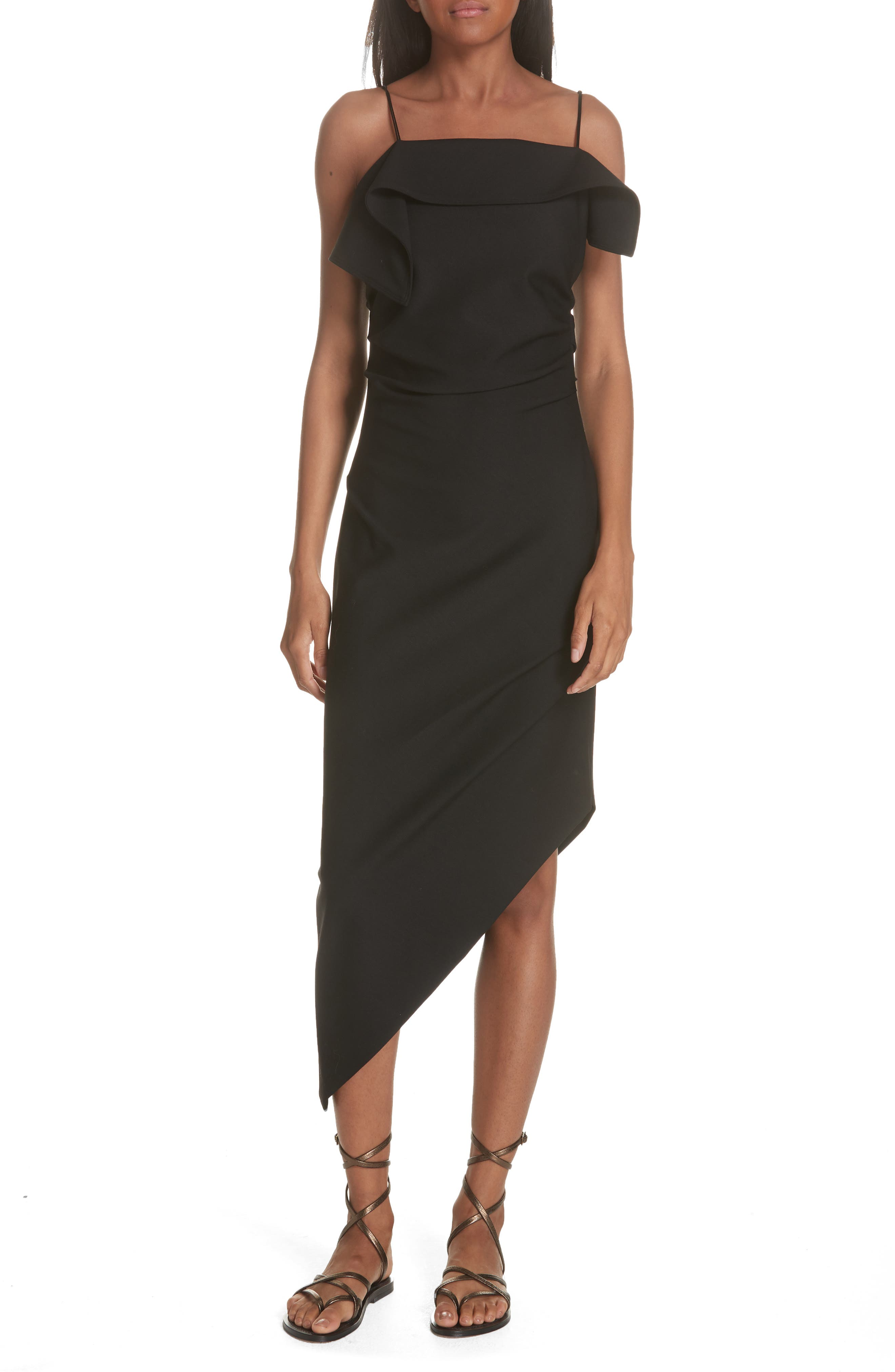 Ruffle Neck Asymmetrical Dress,                         Main,                         color, BLACK