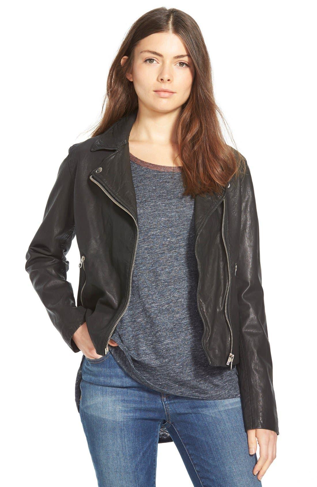 Washed Leather Moto Jacket,                             Main thumbnail 1, color,                             TRUE BLACK