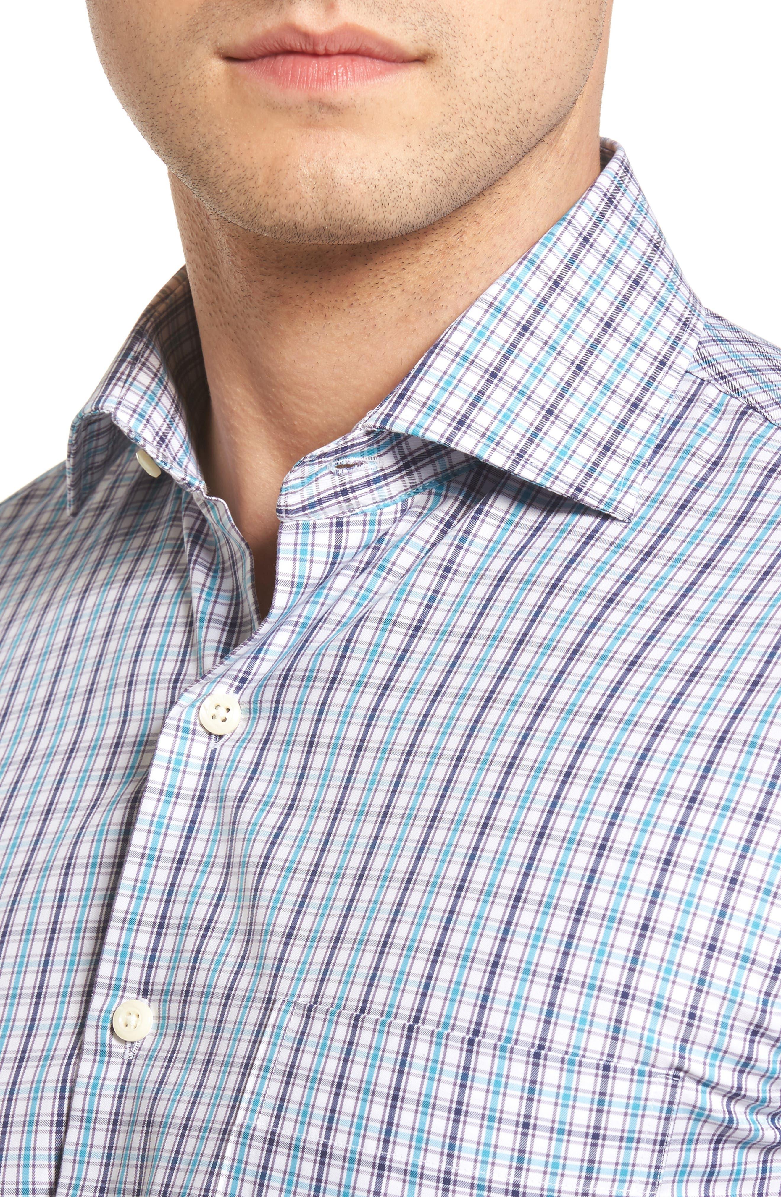 Regular Fit Channel Check Sport Shirt,                             Alternate thumbnail 4, color,