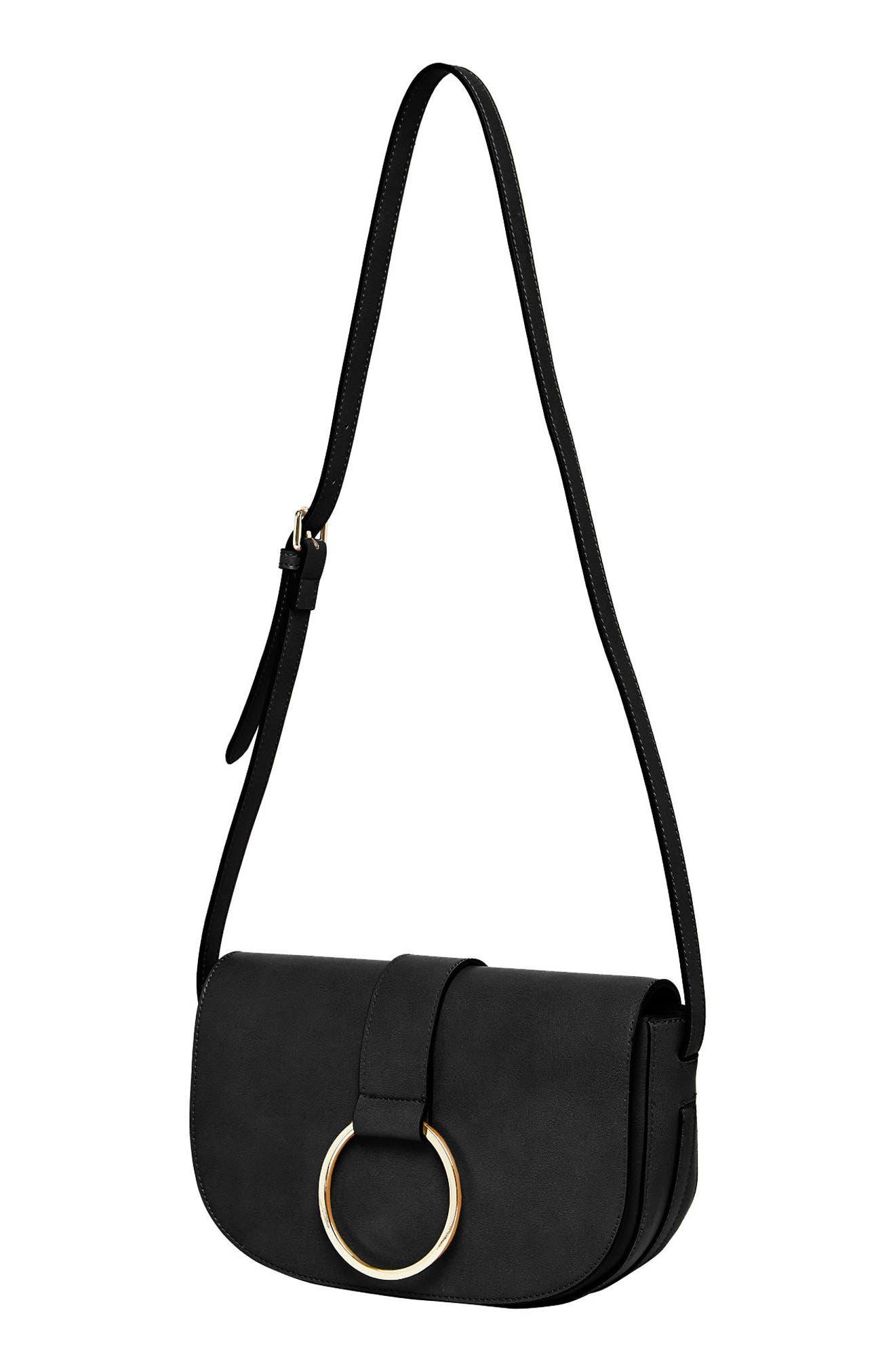 Lola Vegan Leather Crossbody Saddle Bag,                             Alternate thumbnail 3, color,                             001