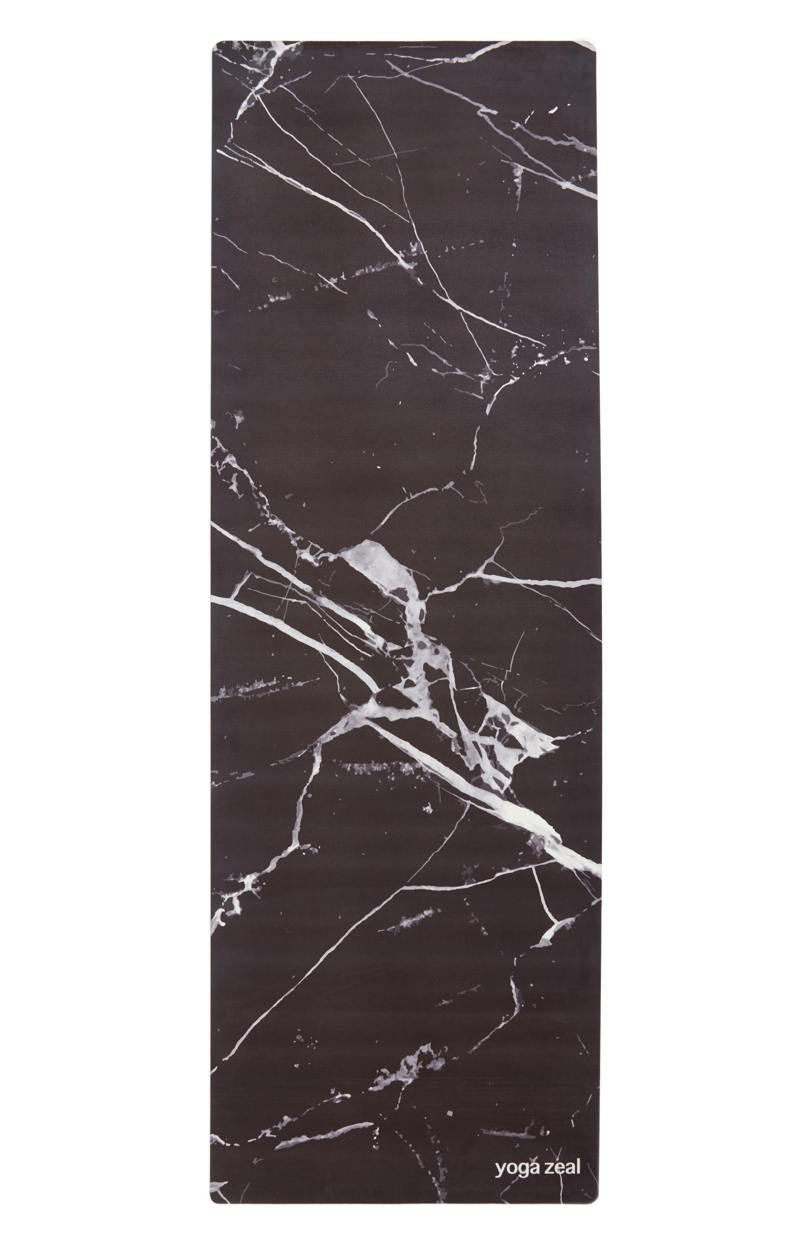 Marble Print Yoga Mat,                         Main,                         color, BLACK MARBLE
