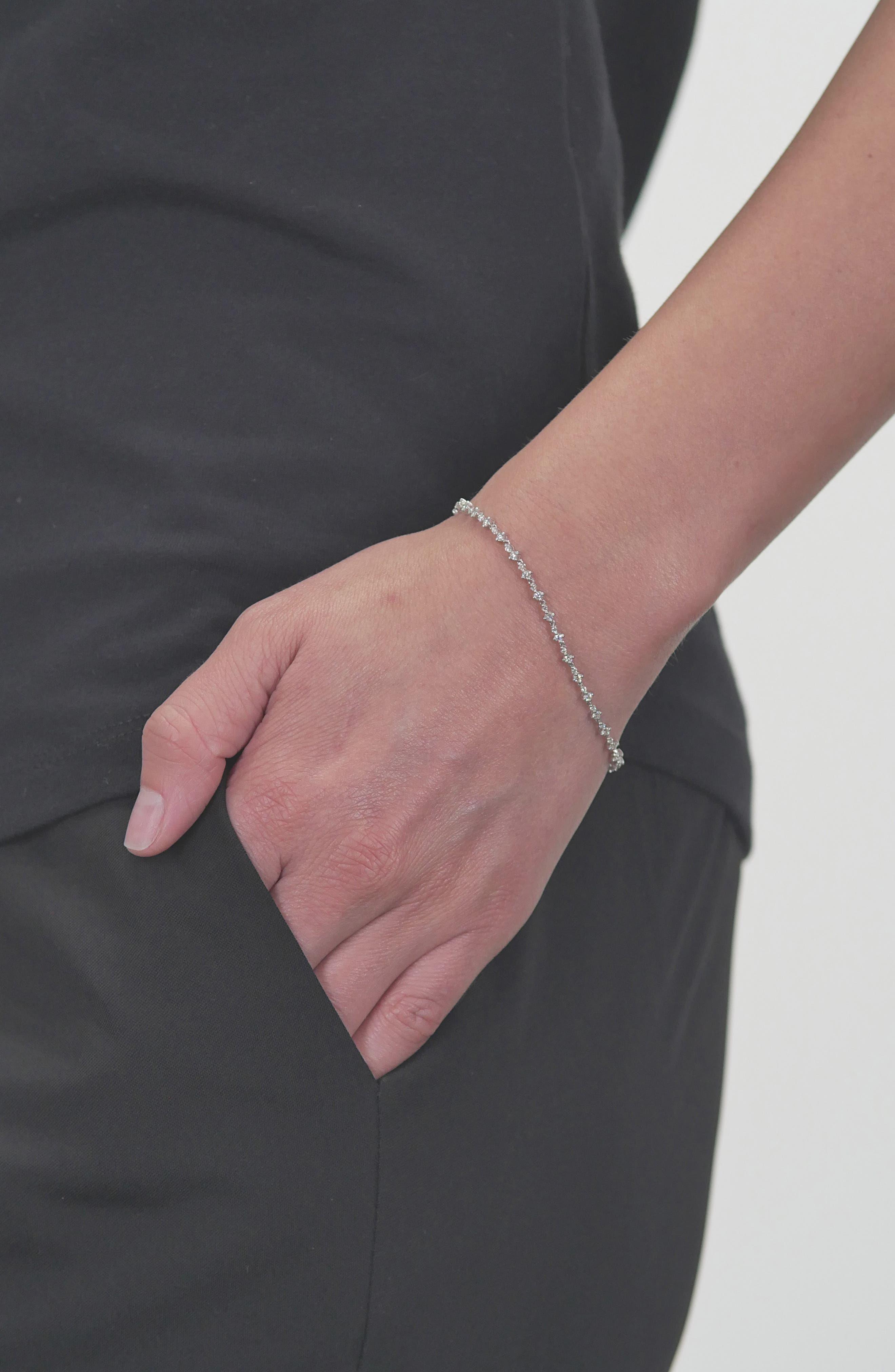 Botanical Diamond Tennis Bracelet,                             Alternate thumbnail 2, color,                             WHITE GOLD