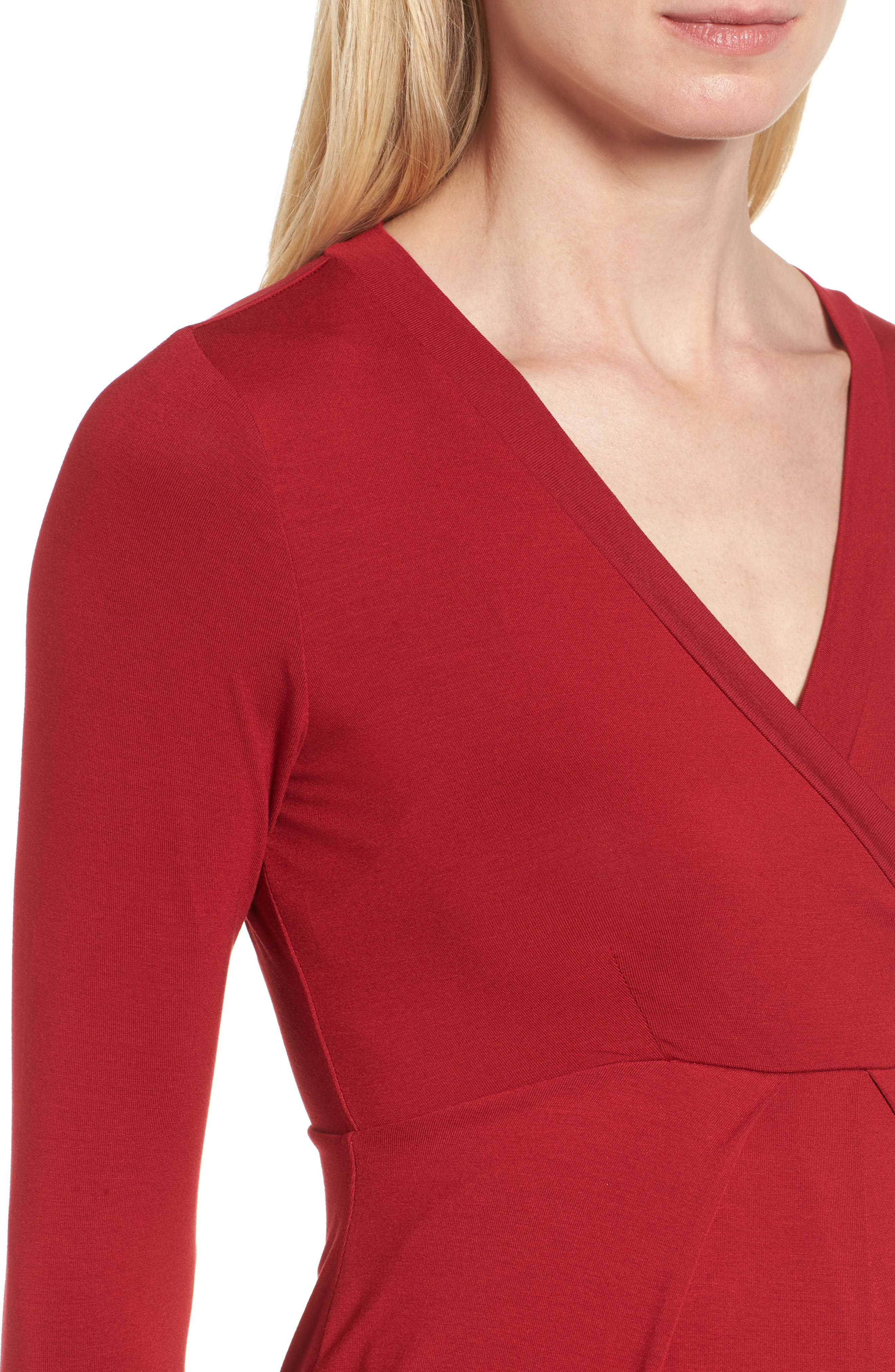 ISABELLA OLIVER,                             Gracia Surplice Maternity Dress,                             Alternate thumbnail 4, color,                             CARDAMOM RED