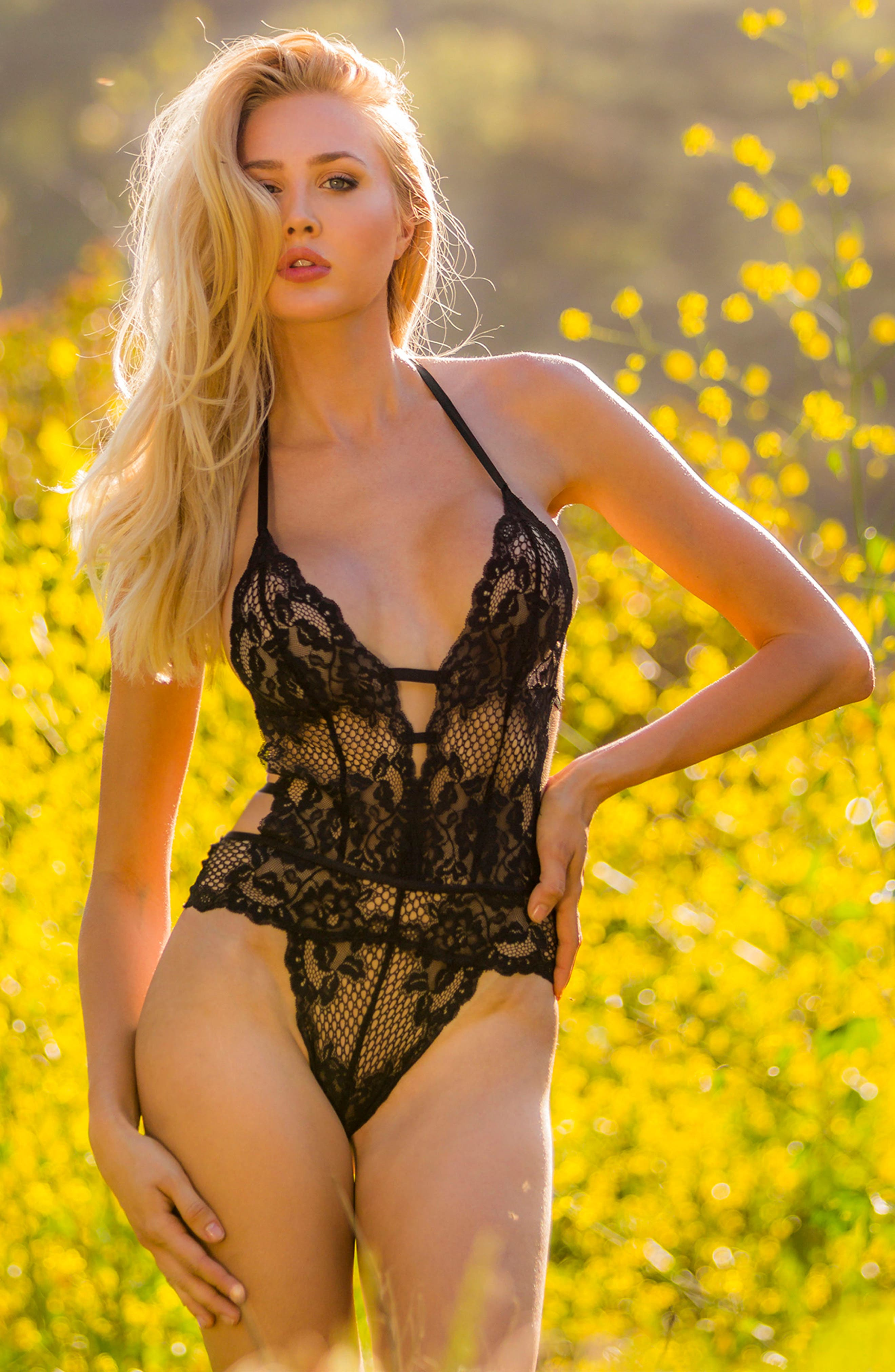 Lace Thong Teddy,                             Alternate thumbnail 6, color,                             001
