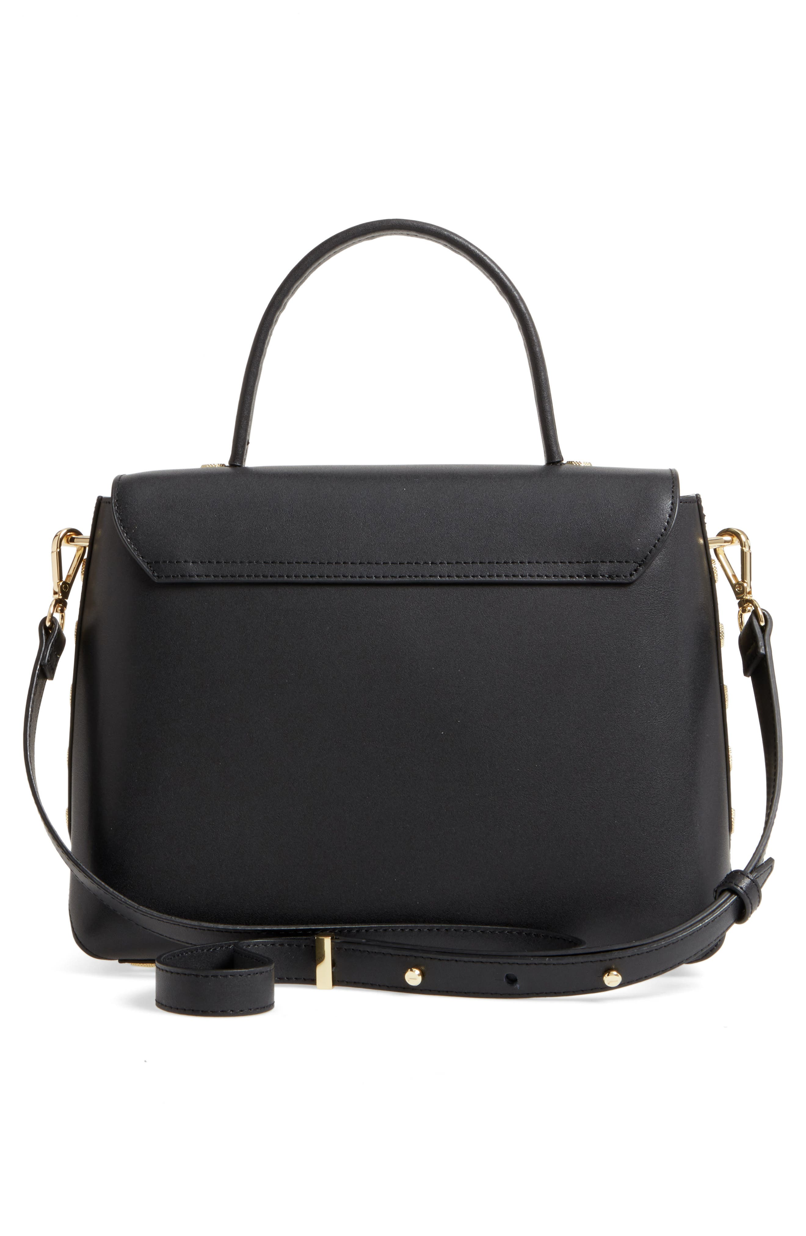 Taymar - Studded Edge Lady Bag Leather Top Handle Satchel,                             Alternate thumbnail 3, color,                             001
