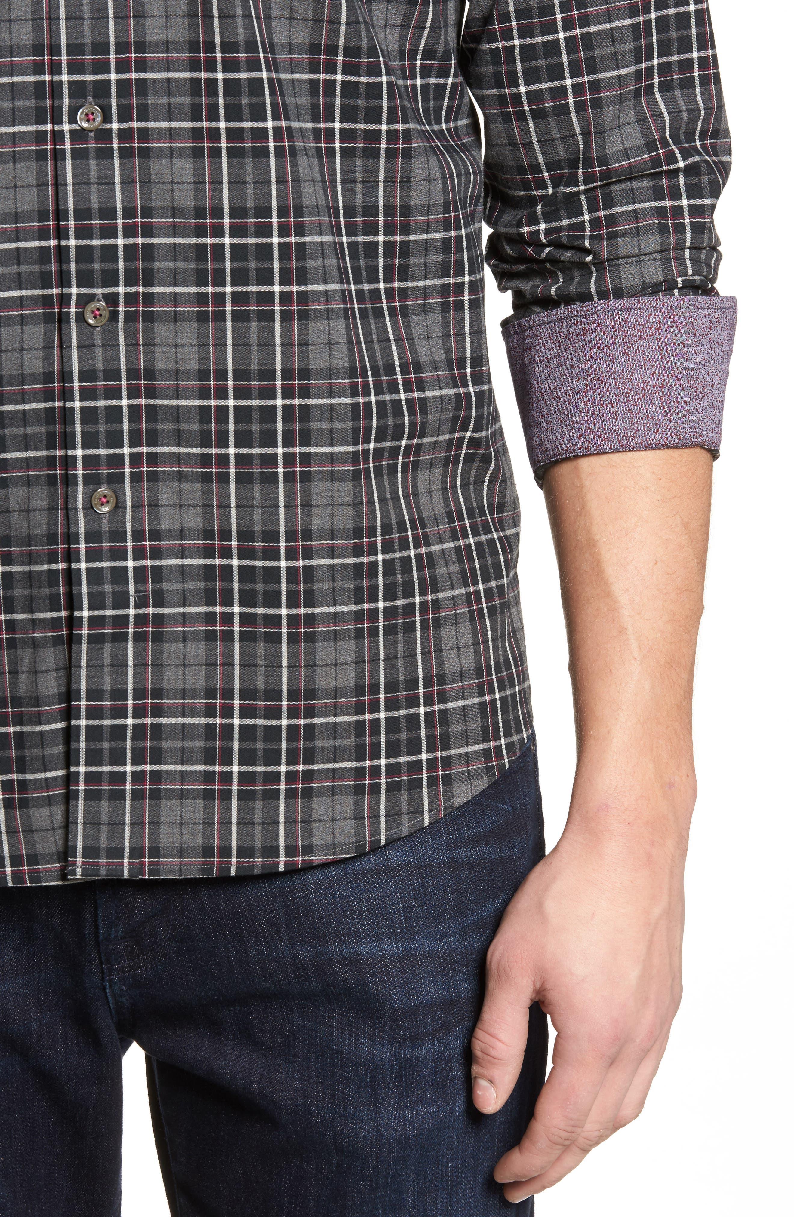 Shaped Fit Plaid Sport Shirt,                             Alternate thumbnail 4, color,                             037