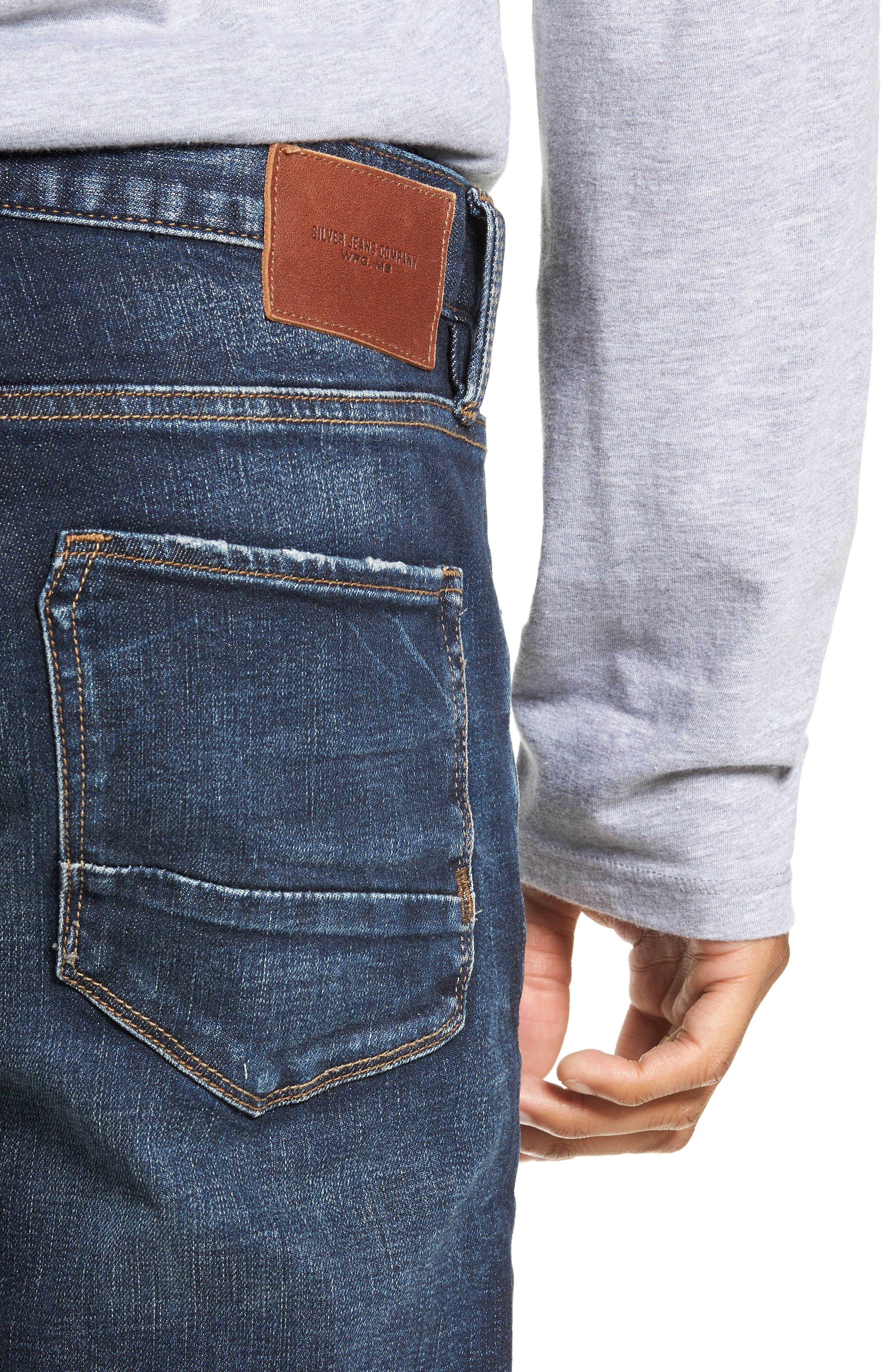 SILVER JEANS CO.,                             Ashdown Slim Straight Fit Jeans,                             Alternate thumbnail 4, color,                             INDIGO