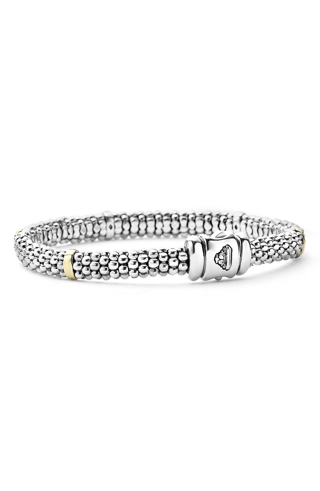 Caviar<sup>™</sup> Rope Station Bracelet,                             Alternate thumbnail 2, color,                             STERLING SILVER / GOLD