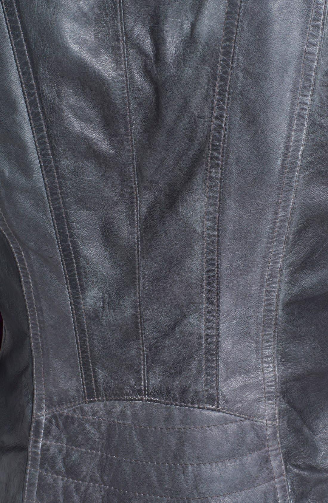 Asymmetrical Leather Moto Jacket,                             Alternate thumbnail 4, color,                             020