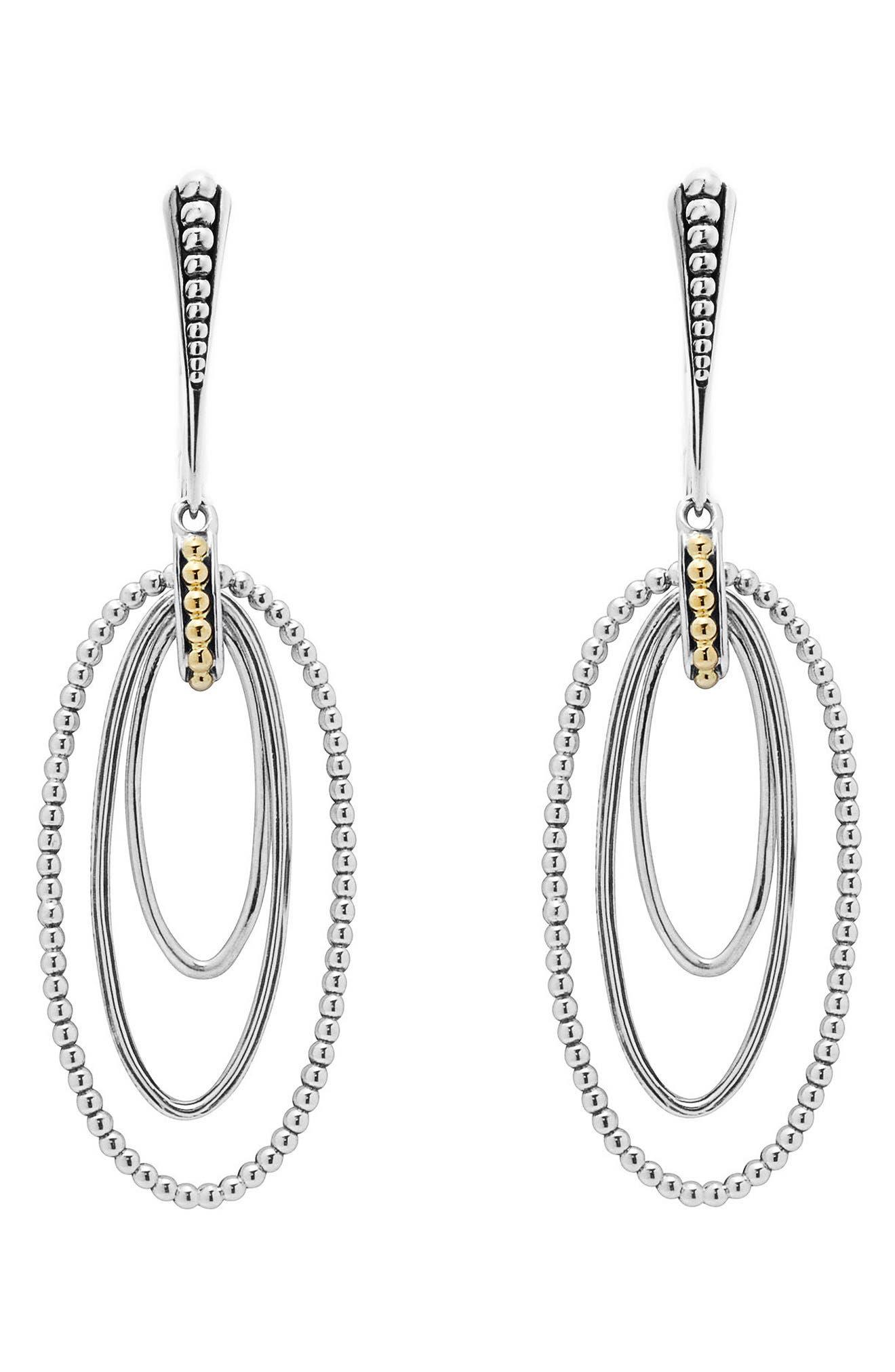 Caviar 'Superfine' Two-Tone Drop Earrings,                             Alternate thumbnail 2, color,                             SILVER/ GOLD