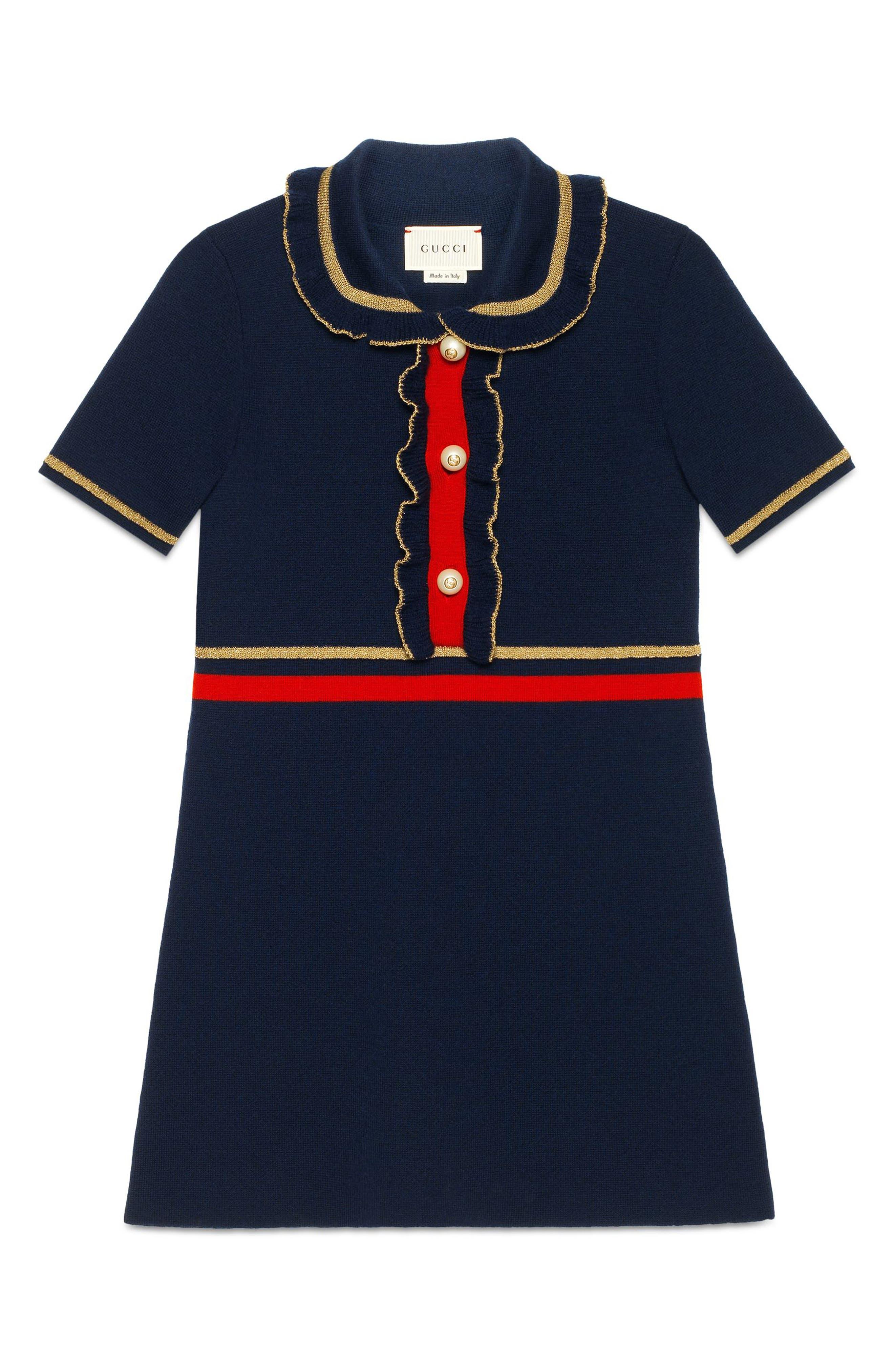 Wool Polo Dress,                             Alternate thumbnail 5, color,                             BLUE MULTI