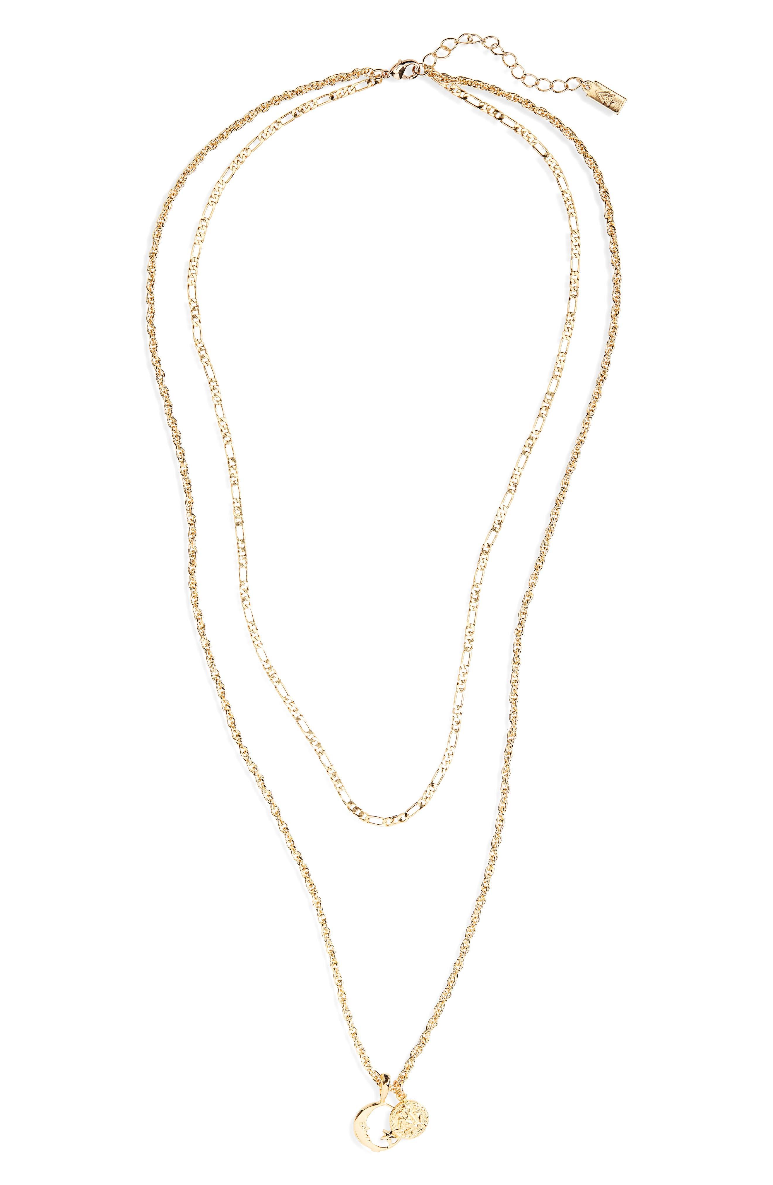 CAM Luna Astrology Pendant Layered Necklace, Main, color, Aquarius