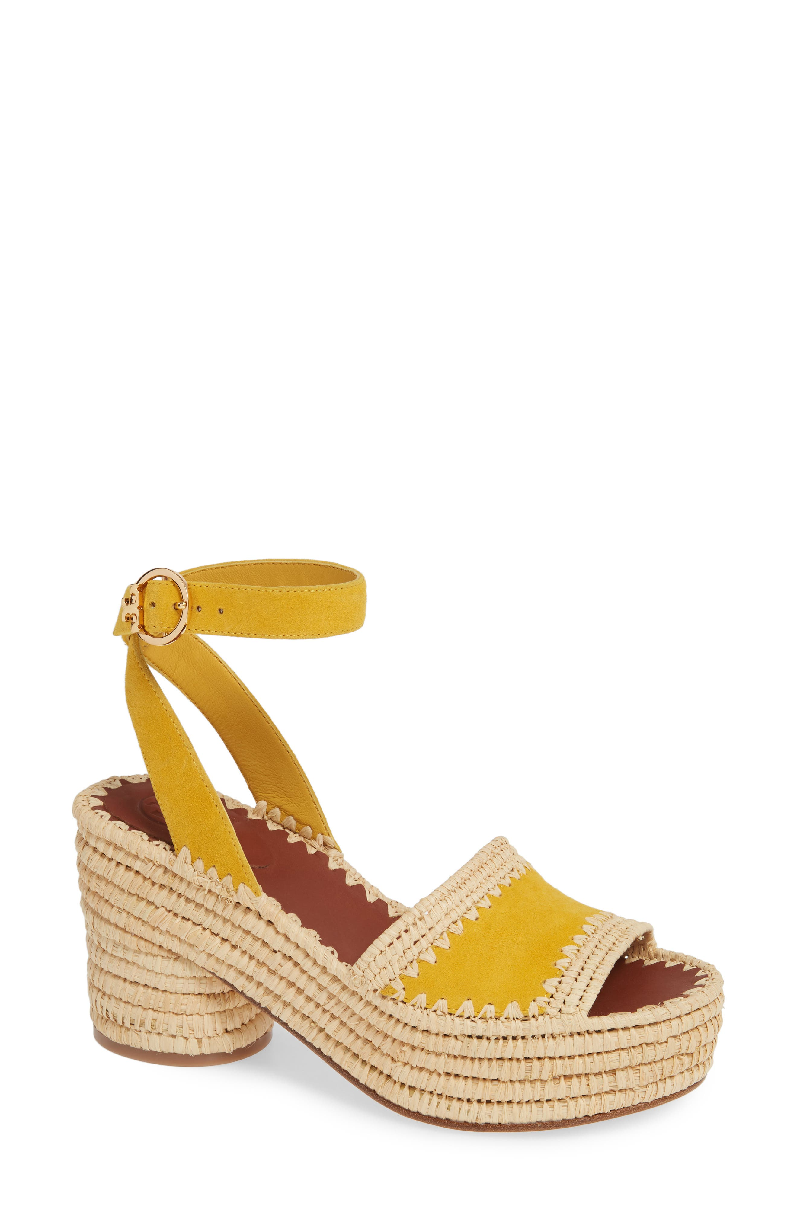 Tory Burch Arianne Platform Ankle Strap Sandal, Yellow